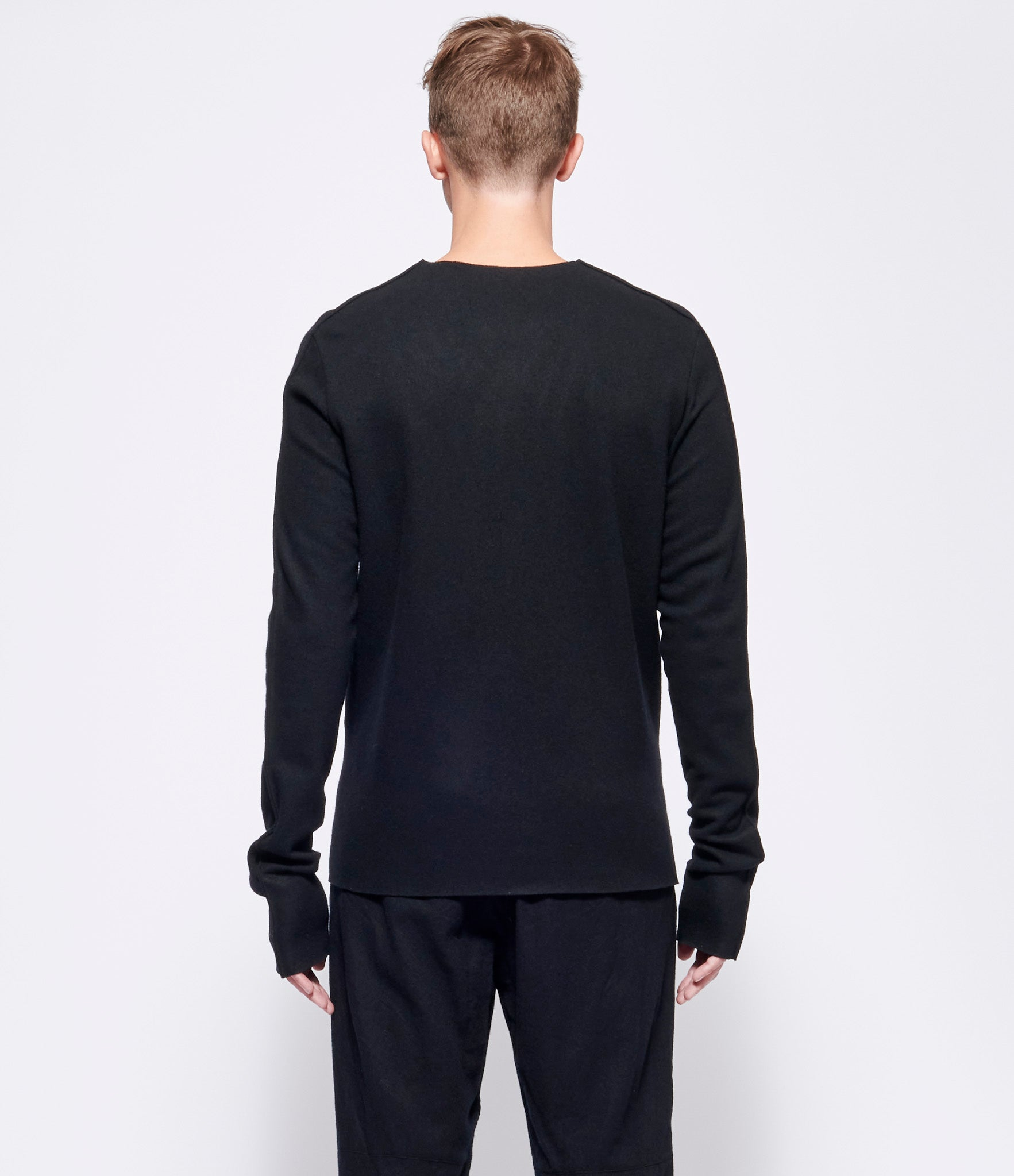 Individual Sentiments Black Wool Cashmere Long Sleeve Top