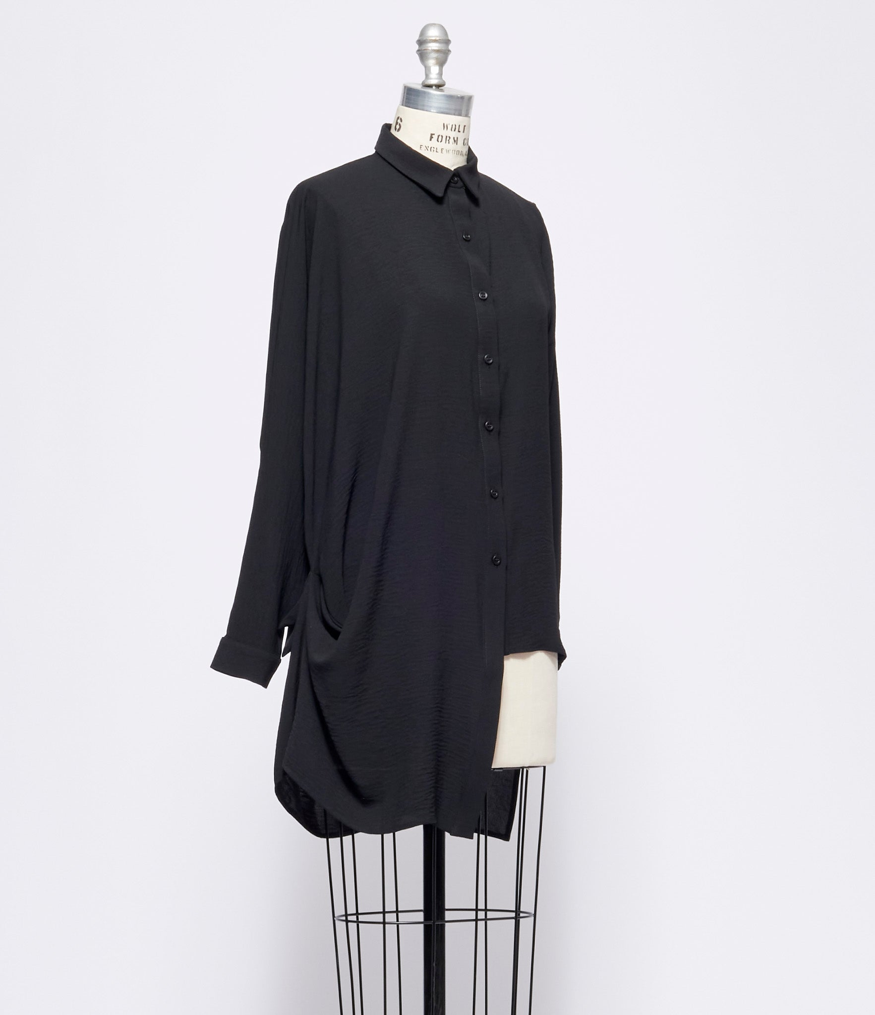Replika Black Stretch Viscose Shirt