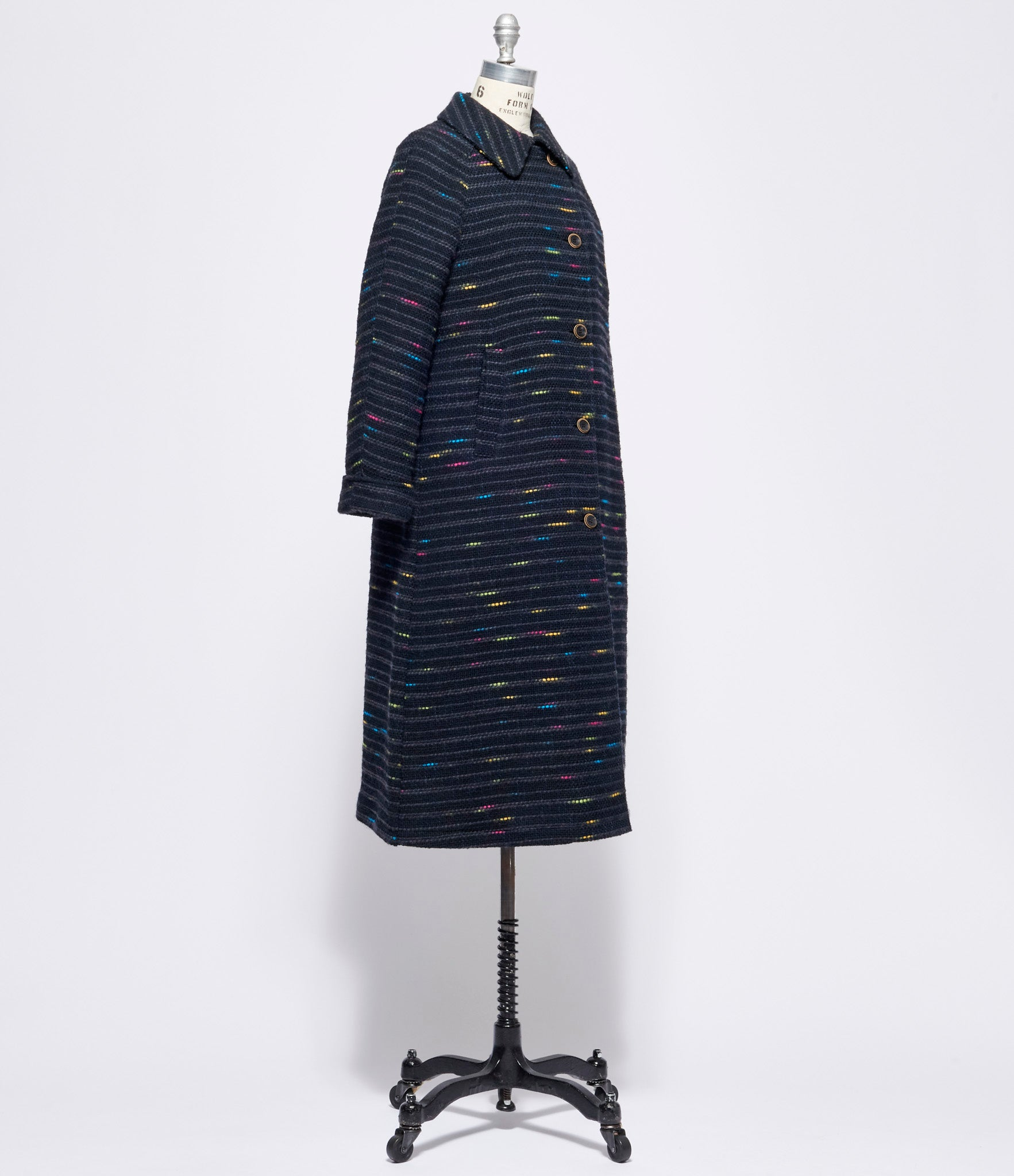 Individual Sentiments Wool Melange Border Tweed Coat
