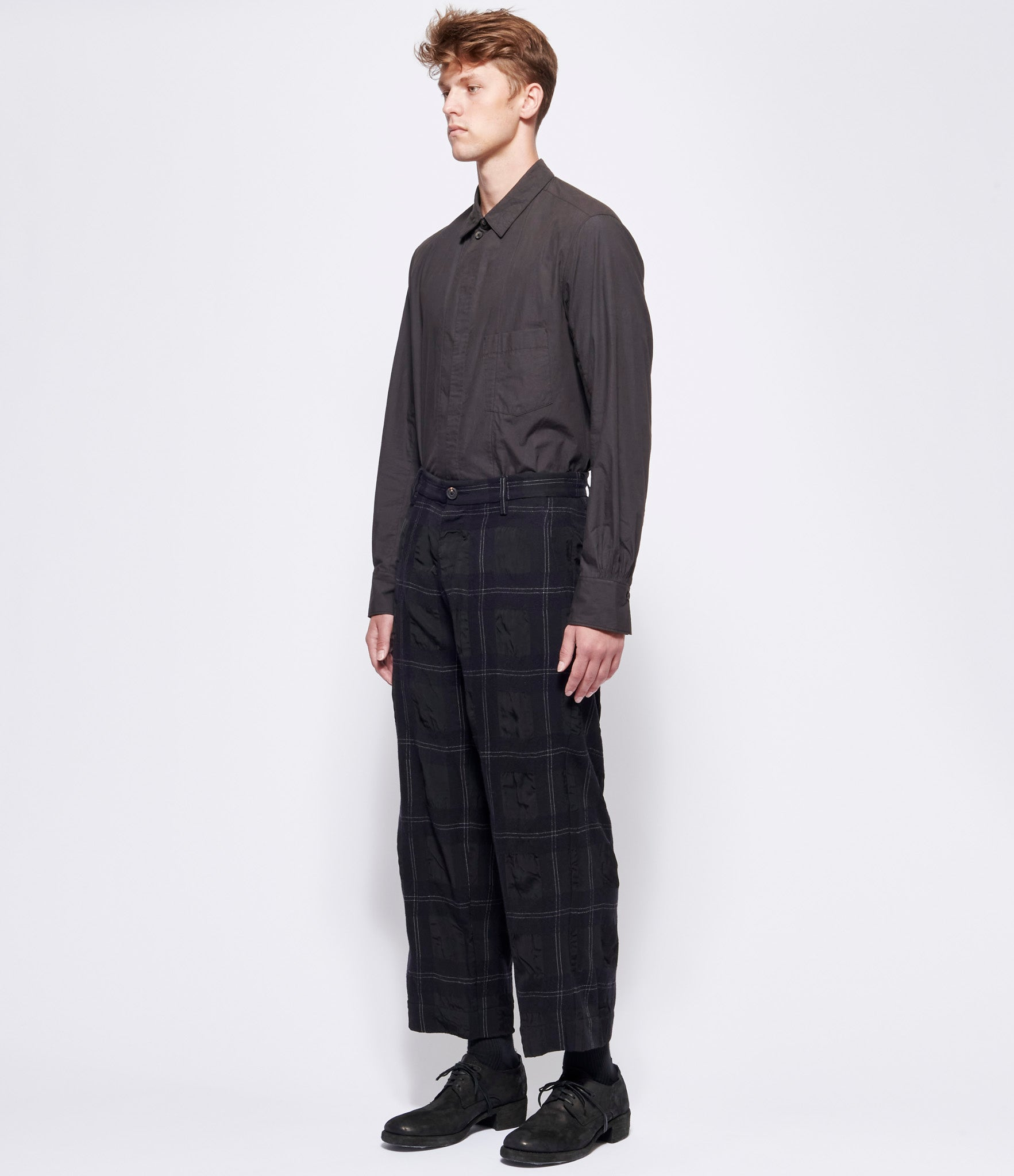 Ziggy Chen Navy Black Big Check Straight Pants