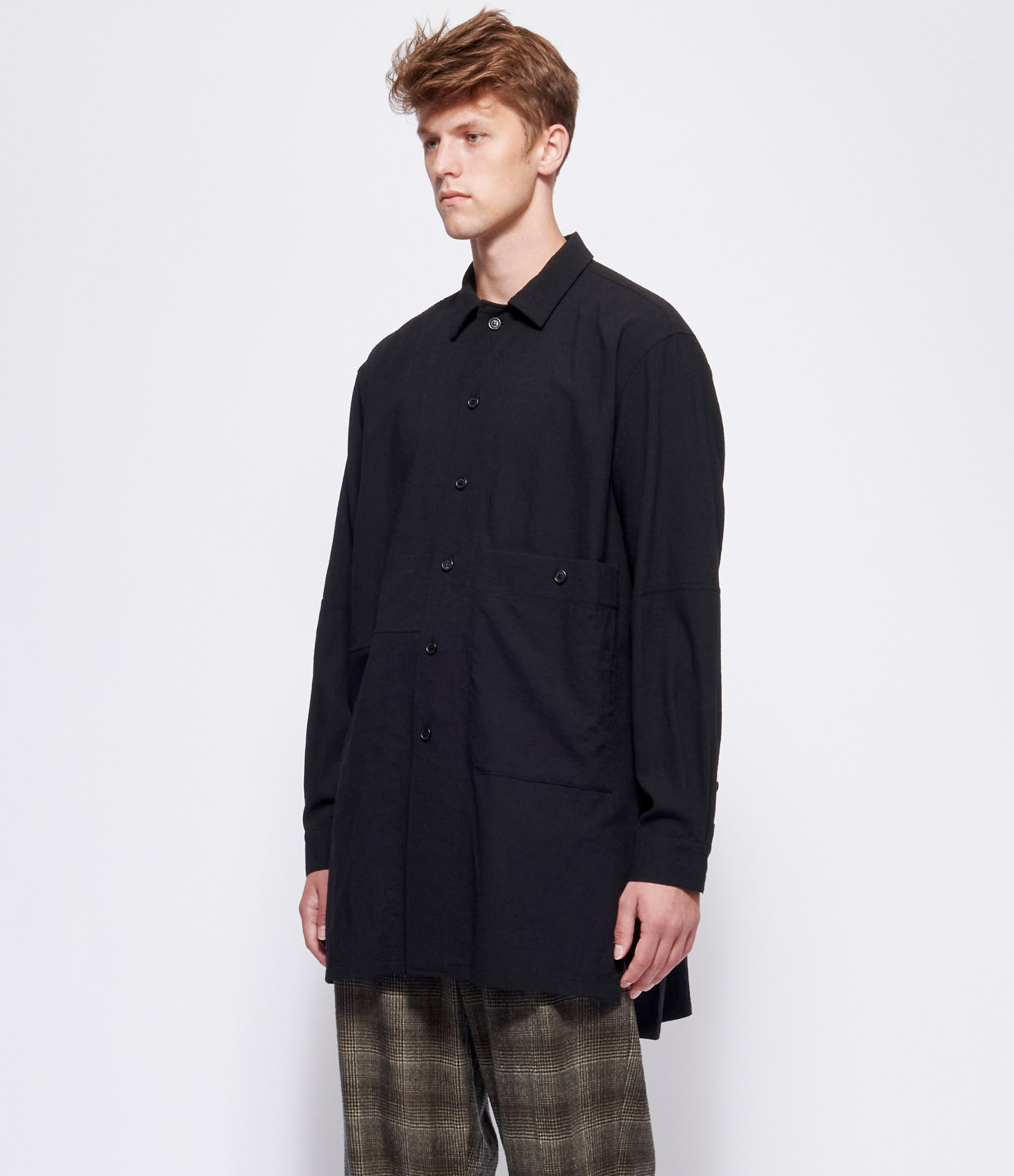 Forme d'Expression Long Outer Shirt with Pocket