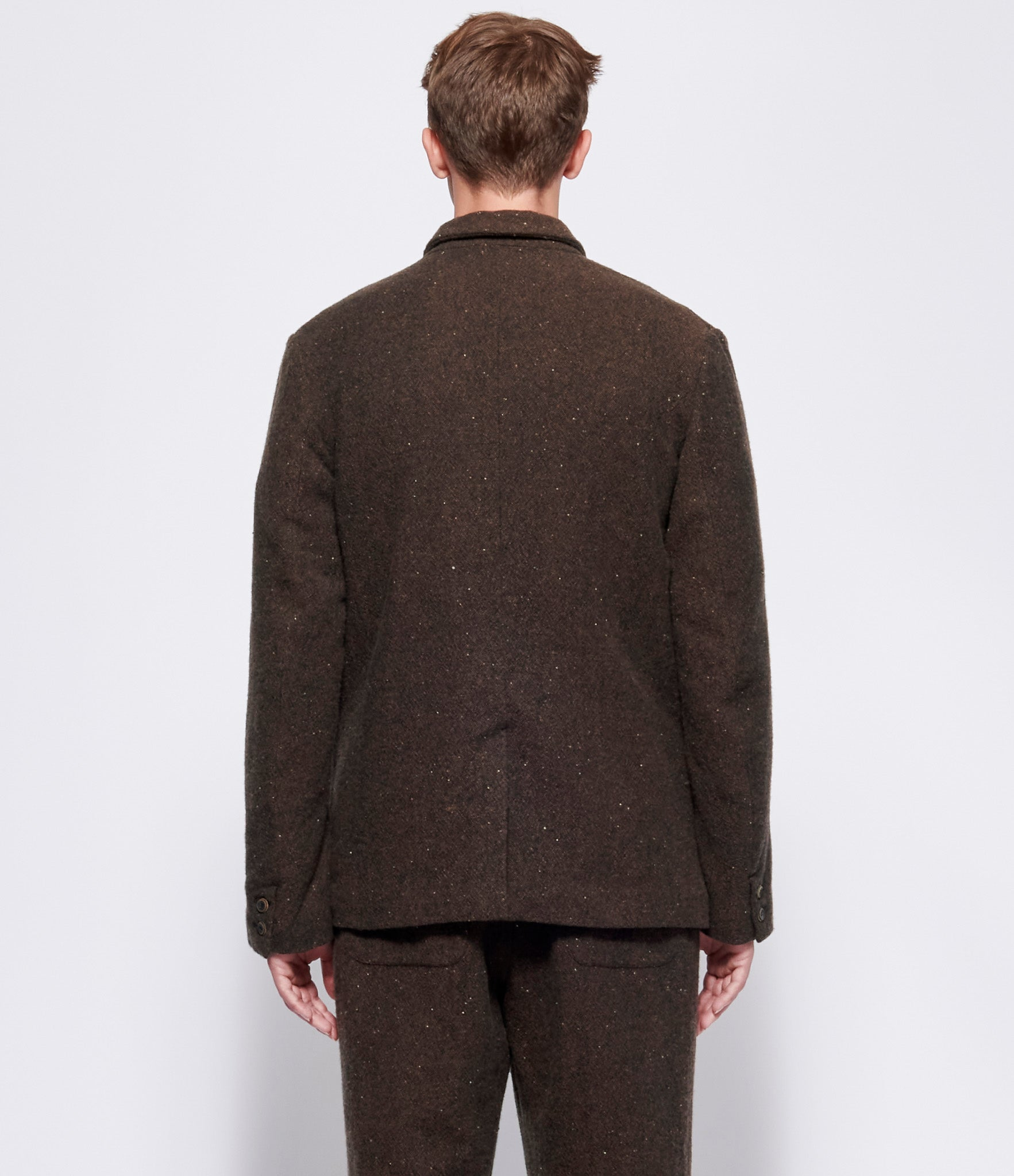 Individual Sentiments Brown Double Face Tweed Wool Jacket