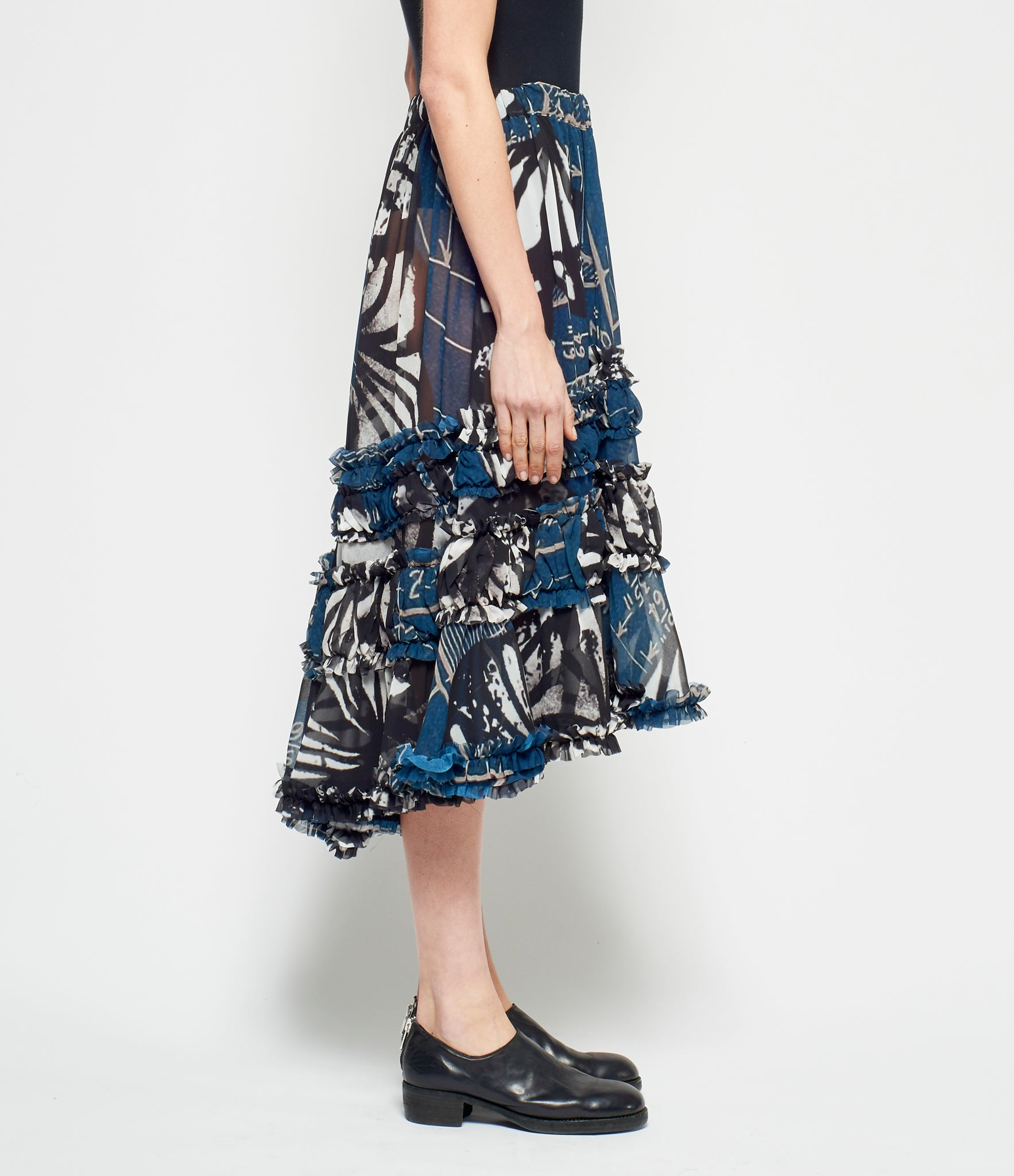 Comme Des Garcons Abstract Inkjet Print Polyester Georgette Skirt