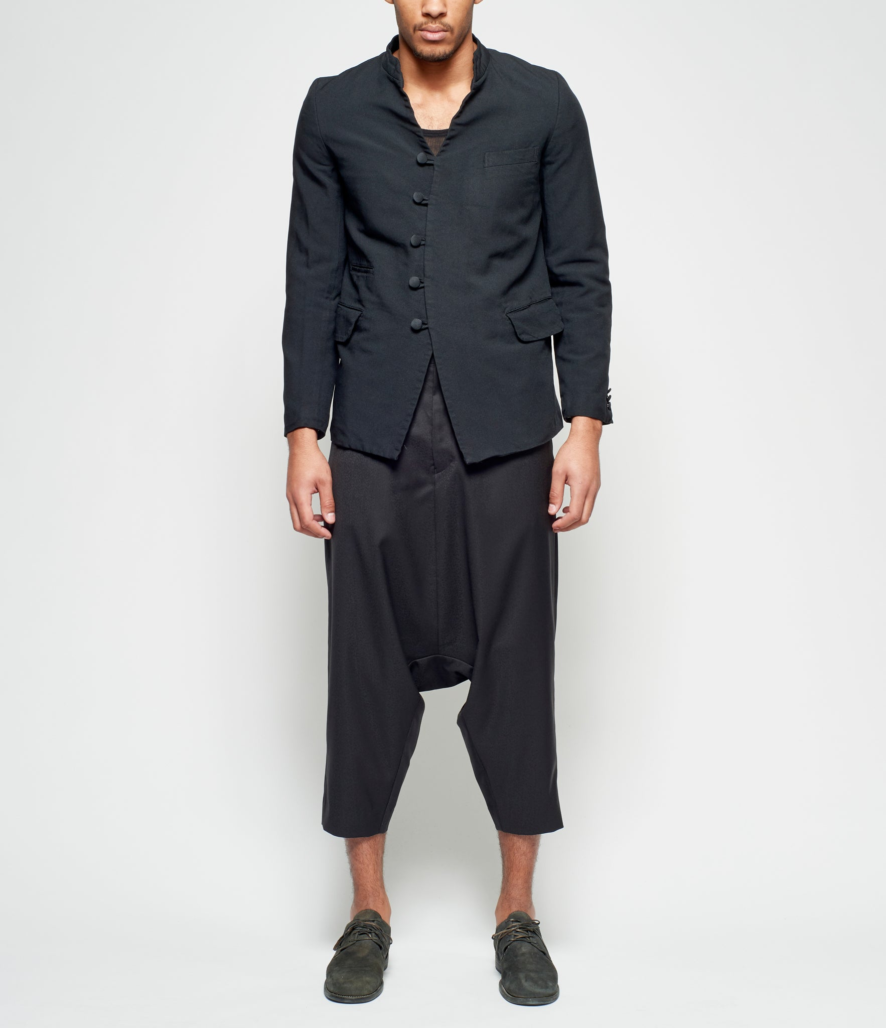 Comme Des Garcons Homme Plus Wool Jacquard Small Flower Patterned Drop Crotch Trousers