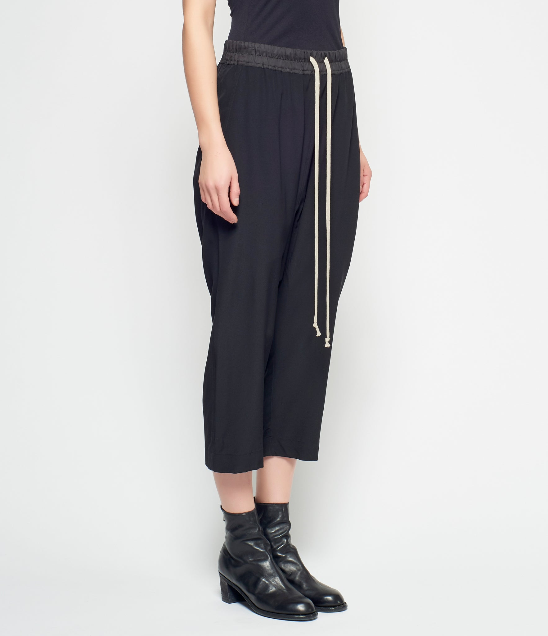 Rick Owens Silk Drawstring Cropped Pants