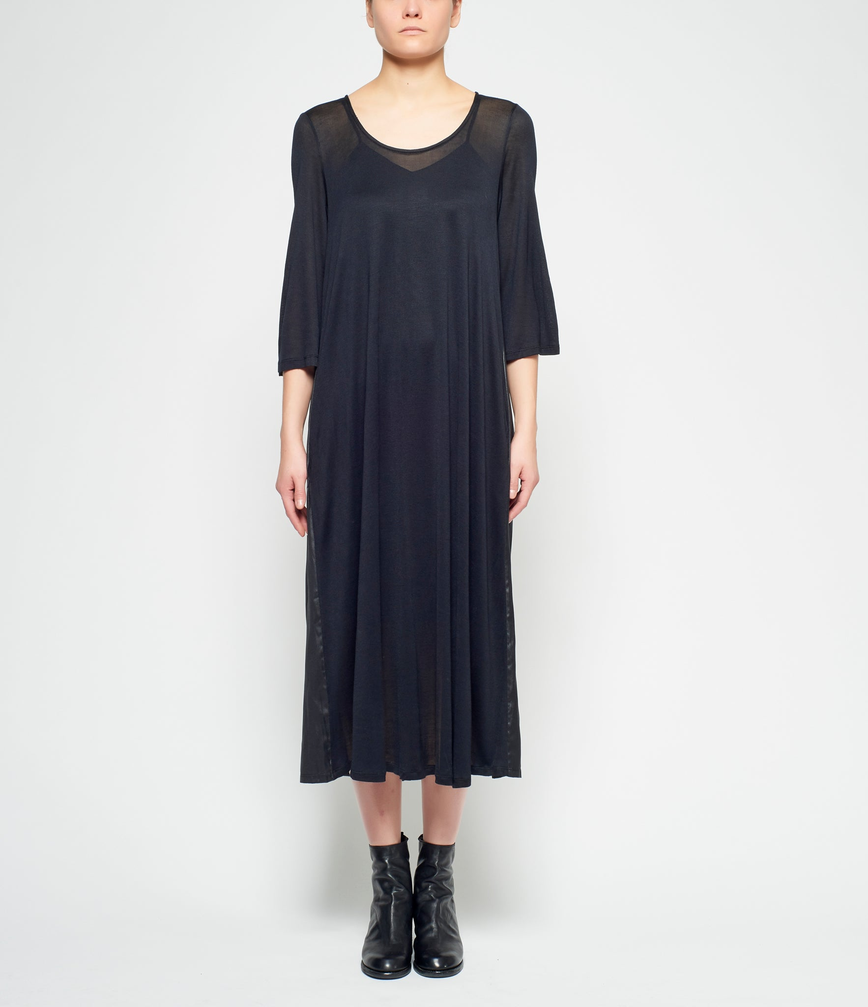 Replika Black Polyester Satin Paneled Bamboo Knit Dress