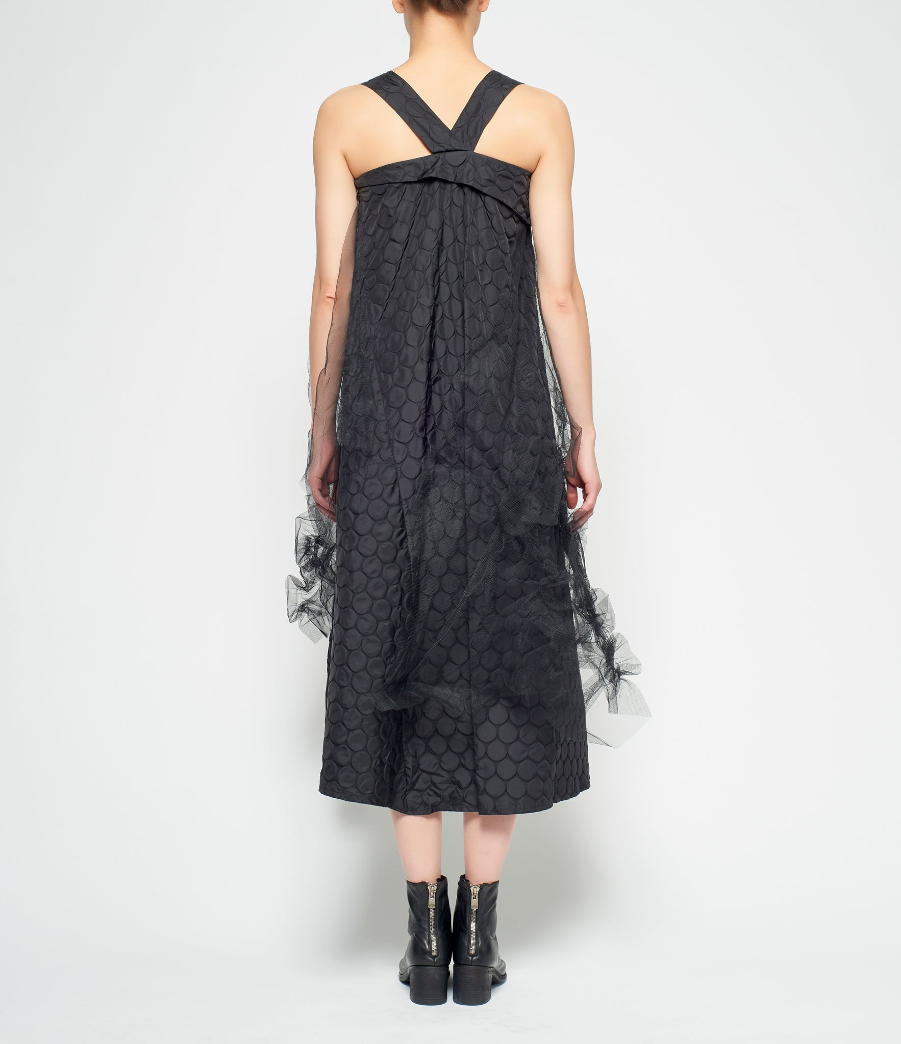 Replika Black Raised Bubble Netting Taffeta Dress