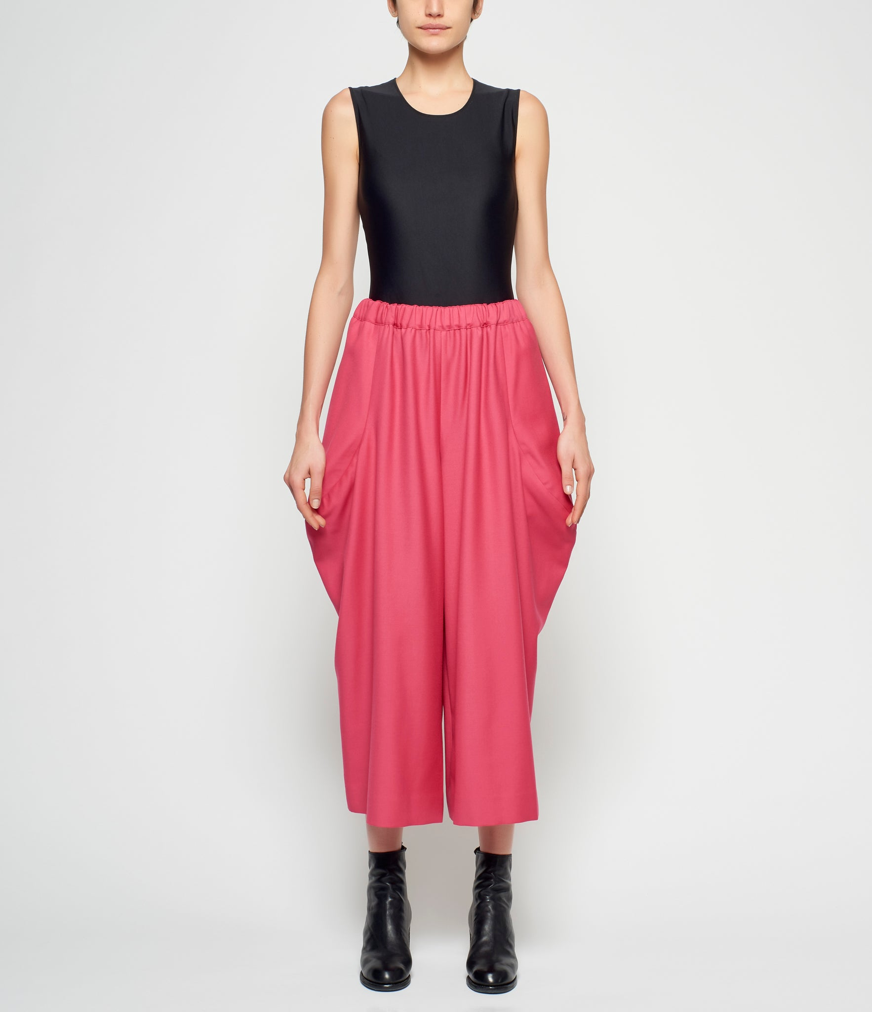 Comme Des Garcons Pink Wool Doeskin Sculpted Pants