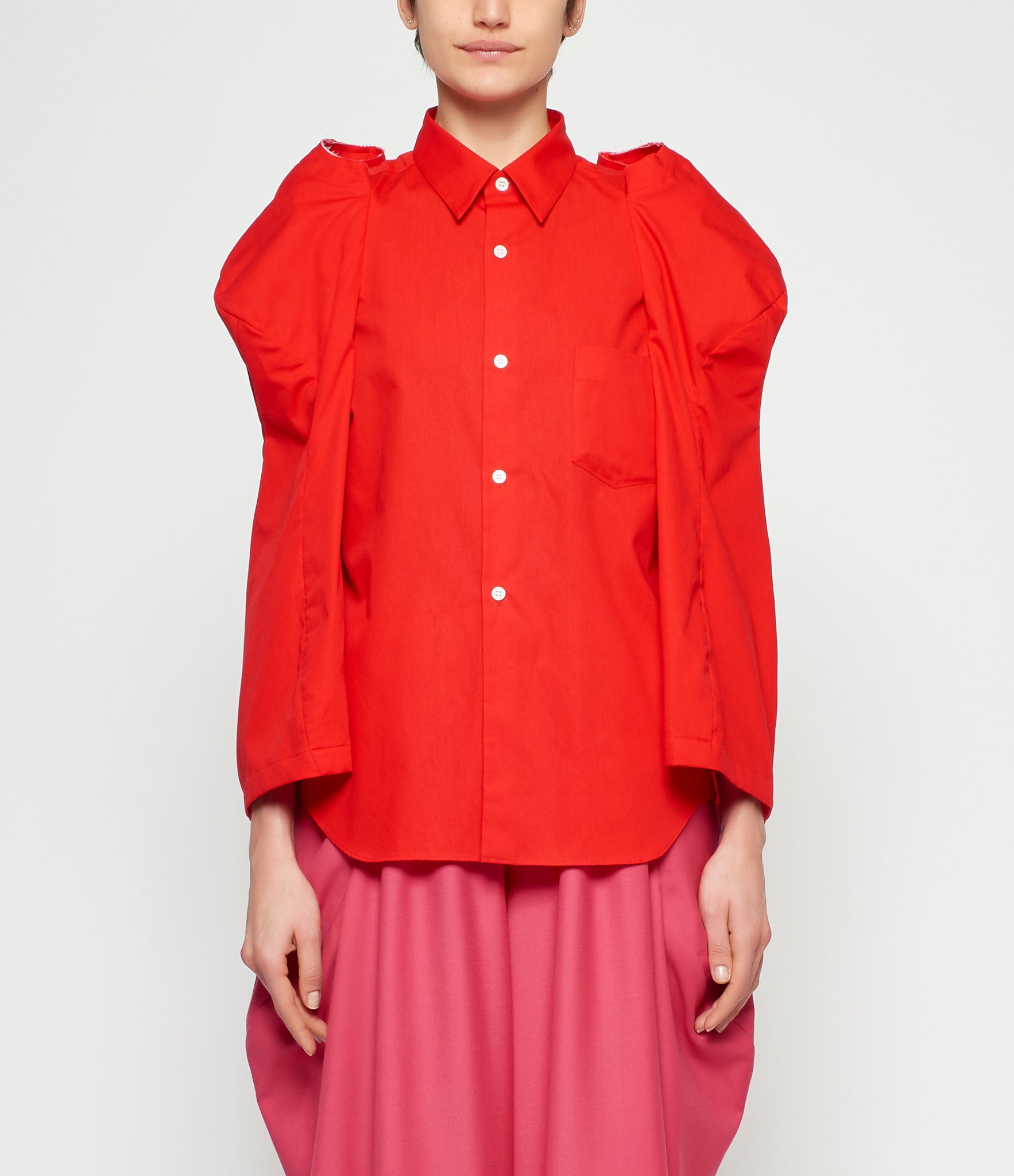 Comme Des Garcons 3D Bell Sleeve Cotton Broadcloth Blouse