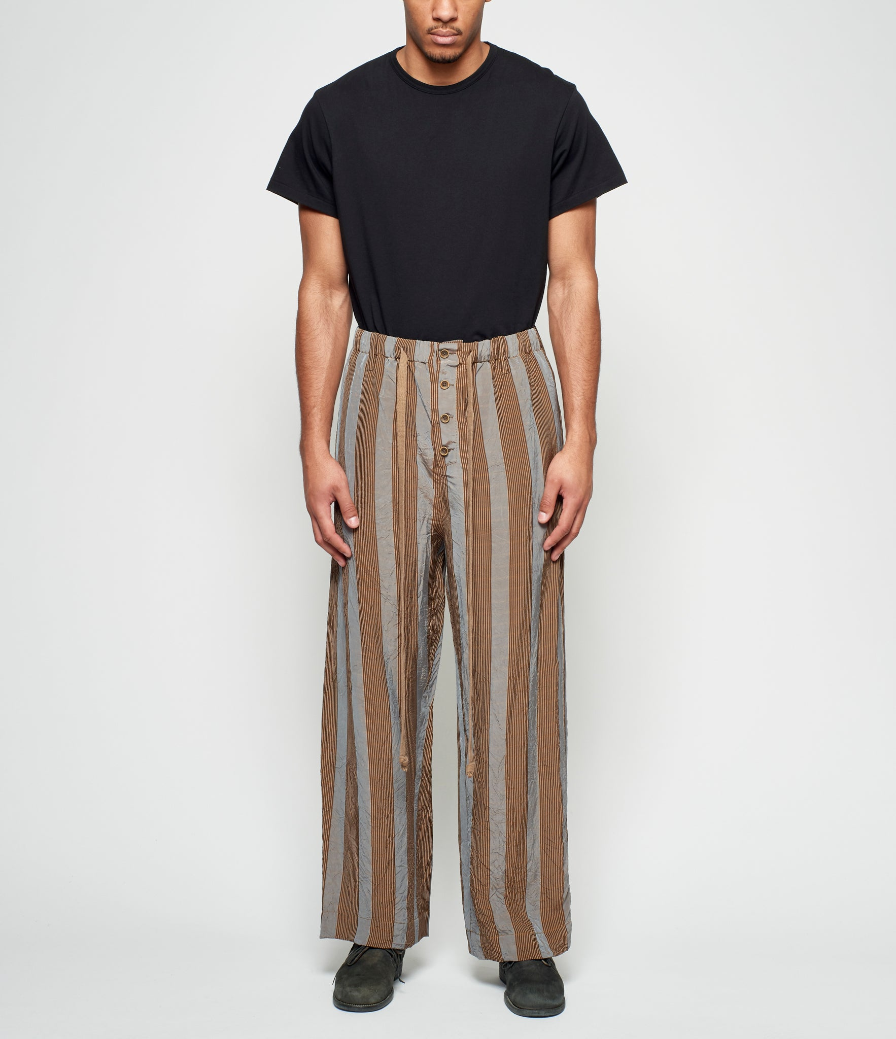 Uma Wang Blue Brown Striped Pete Pants