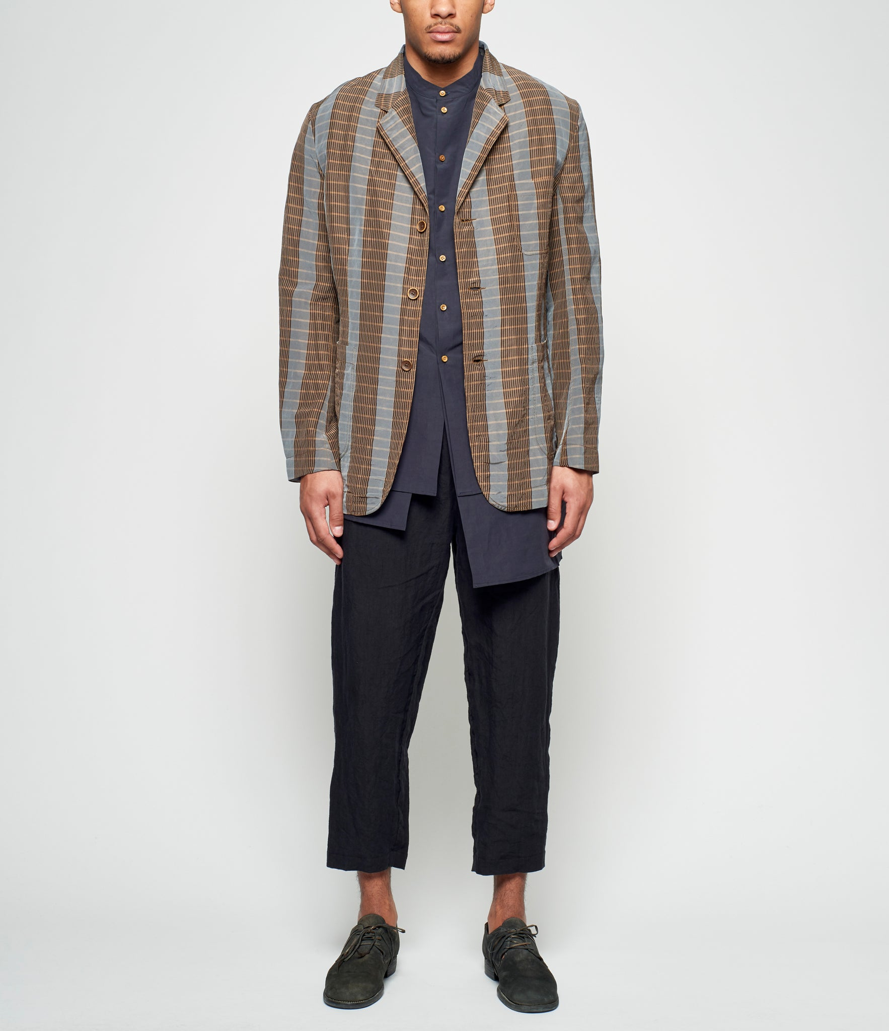 Uma Wang Blue Brown Check Pattern Jared Jacket