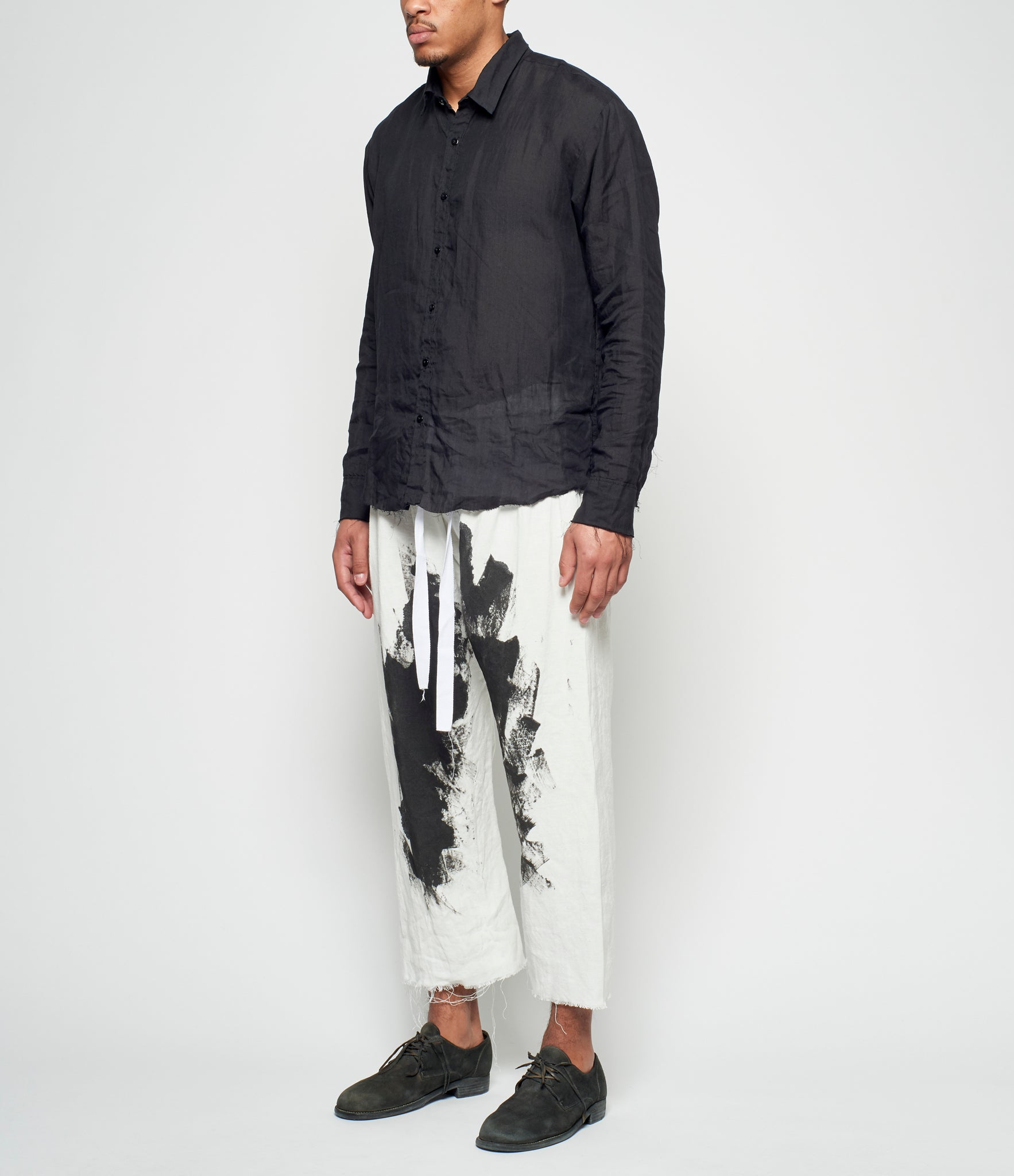 Elena Dawson Painted Linen Drawstring Pants