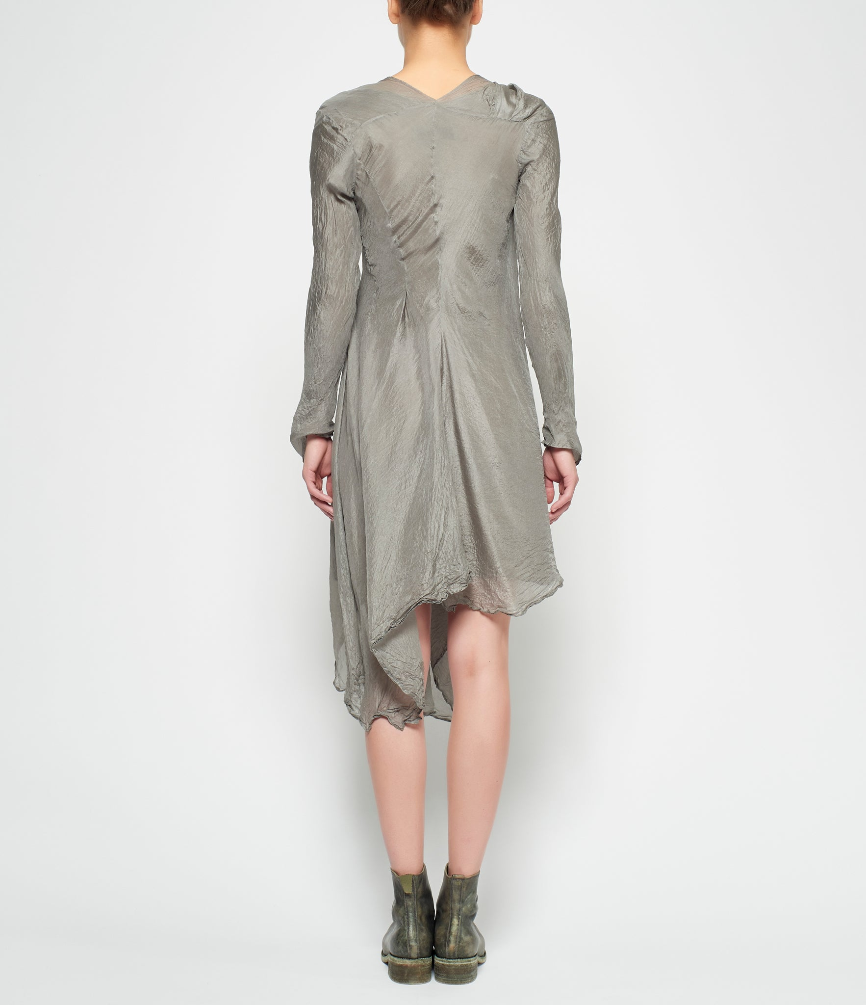 Marc Le Bihan Knotted Silver Silk Long Sleeve Dress
