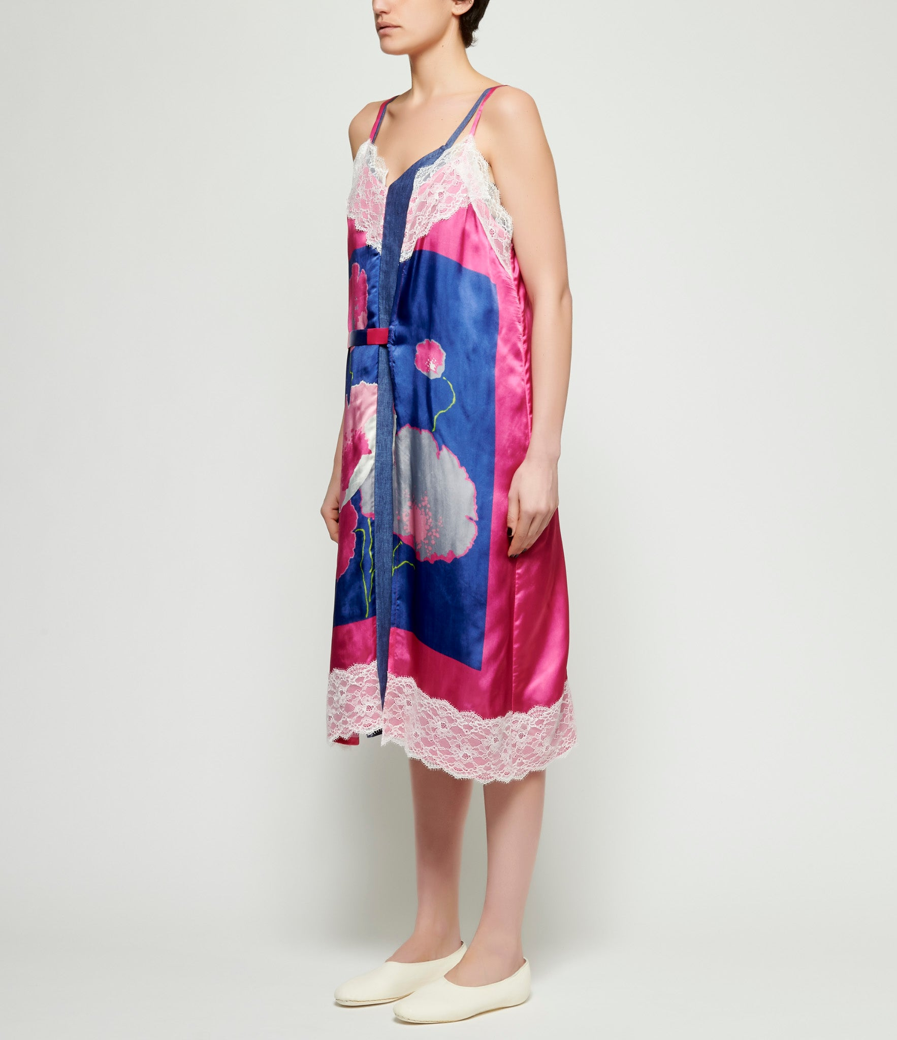 Junya Watanabe Deconstructed Linen Twill Chambray x Floral Print Satin Cupro Slip Dress