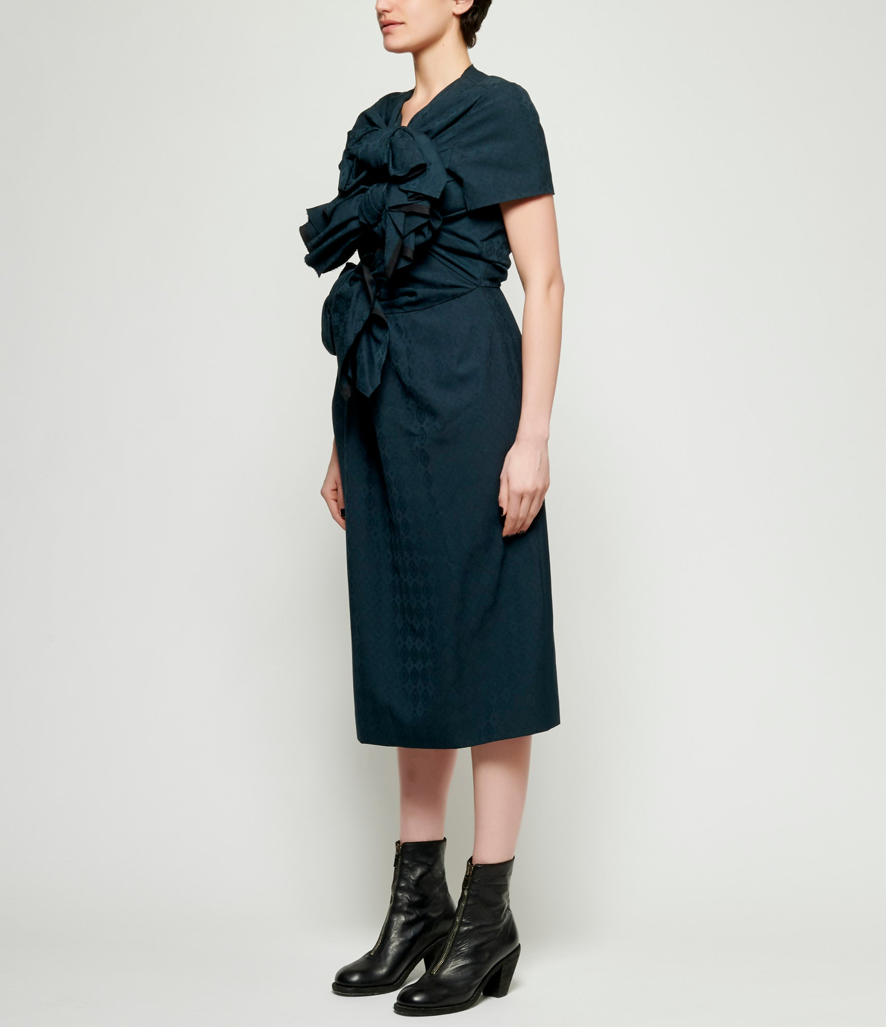 Comme Des Garcons Polyester Wool Dobby Diamond Pattern Dress