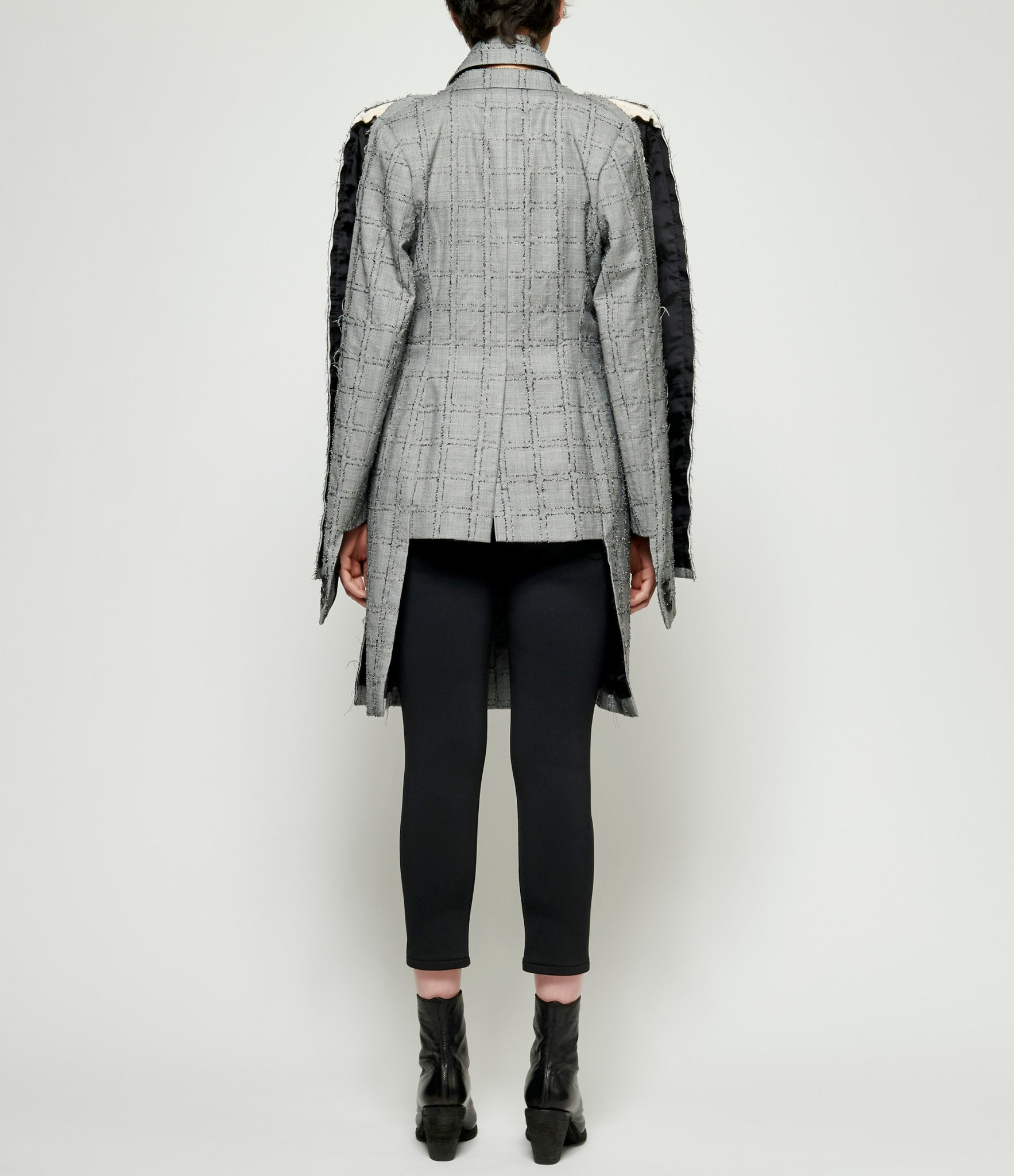 Comme Des Garcons Deconstructed Needle Punch Checkered Wool Glen Check Long Jacket