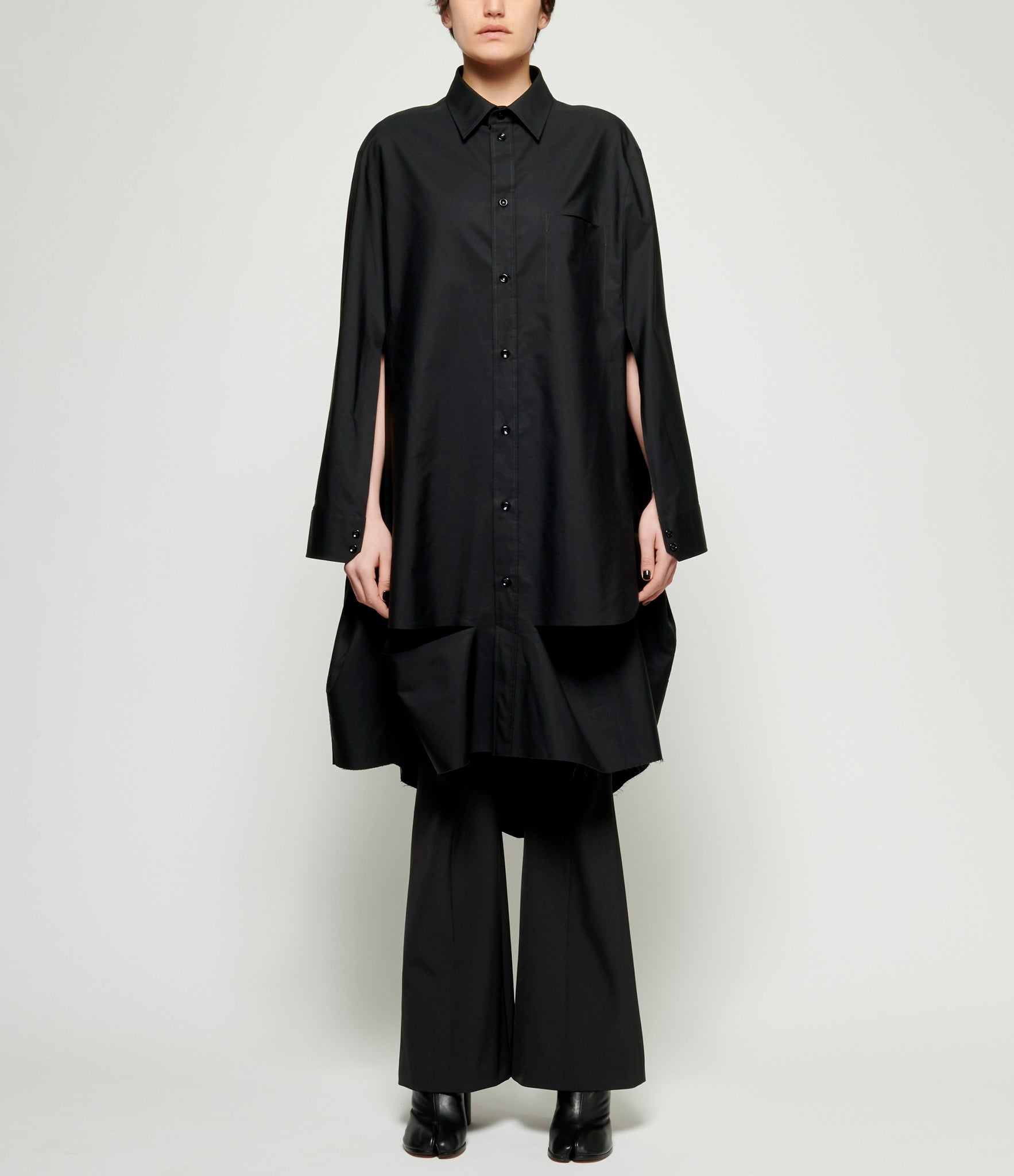 Maison Margiela Runway Cotton Poplin Poncho Shirt Dress