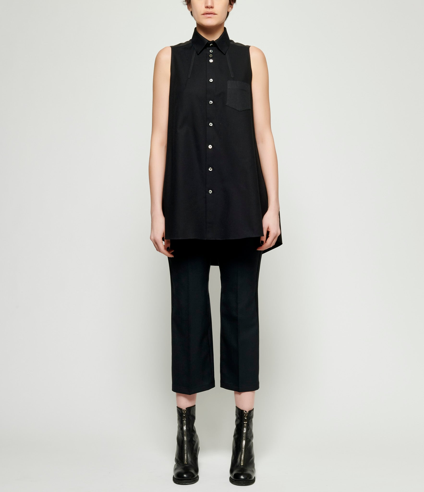Shiro Sakai Black Formal Cotton Mix Sleeveless Long Shirt