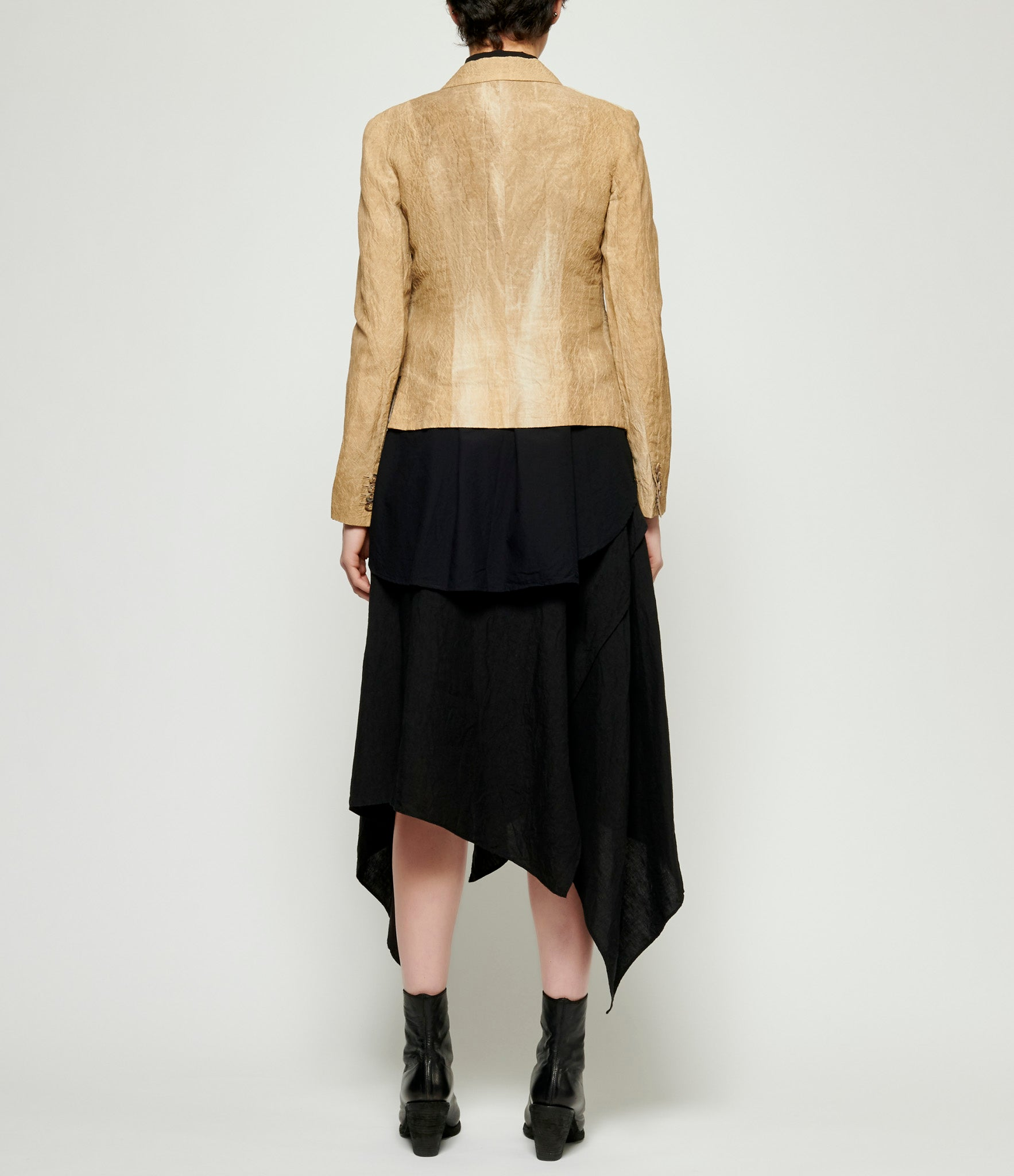 Forme d'Expression Viscose Linen Asymmetric Double Breasted Jacket