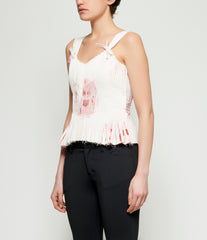 Roberts Wood Illusion Print Pleated Strap Detail Top