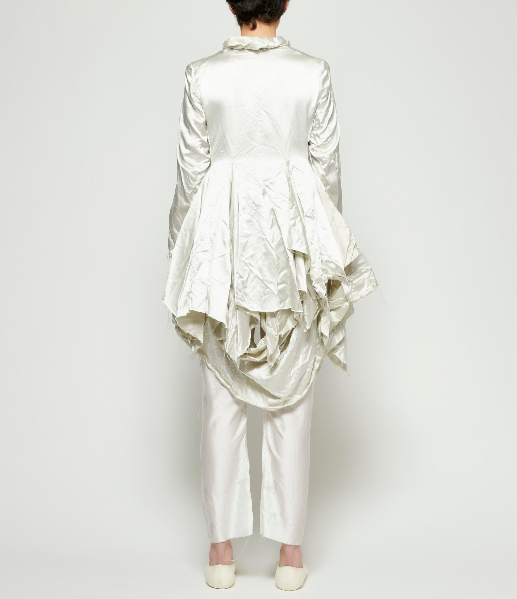 Elena Dawson Silver Heavy Silk Satin Rolled Collar Hacking Dress Jacket