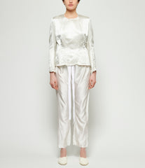 Elena Dawson Silver Print White Light Silk Satin Pajama Pants