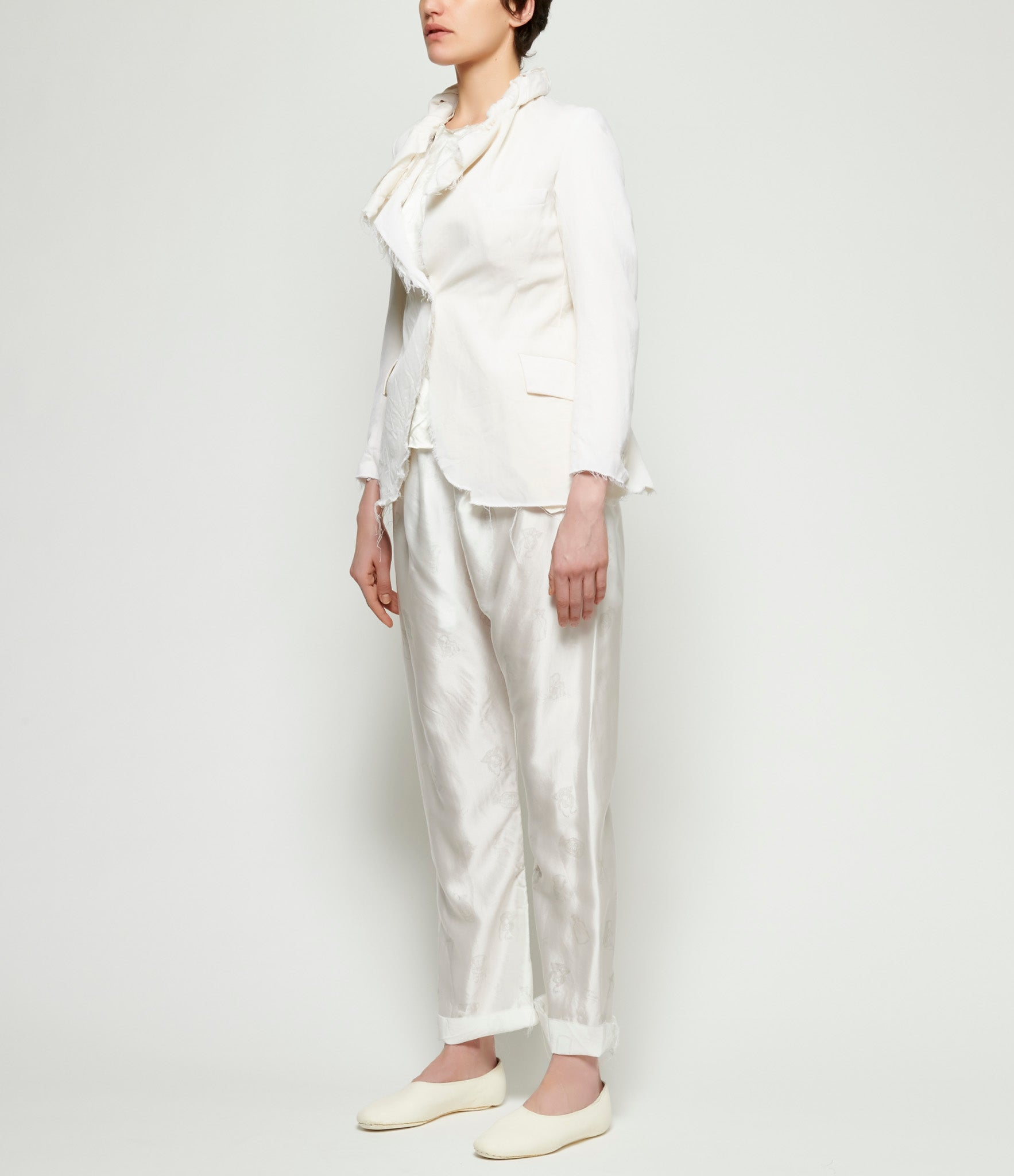 Elena Dawson White Wool 1 Button Open Hacking Jacket