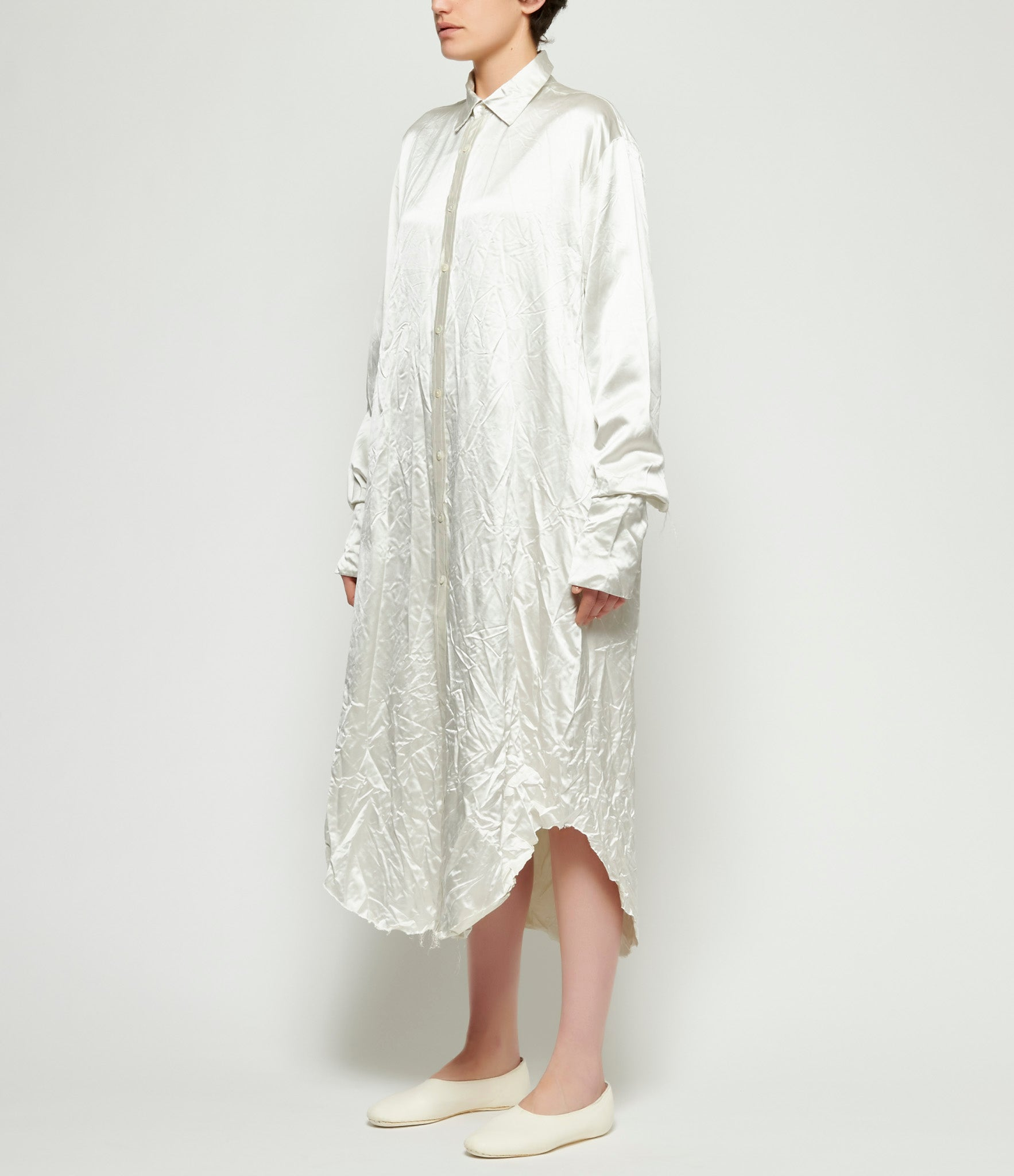 Elena Dawson Silver Heavy Silk Satin Extra Long Shirt
