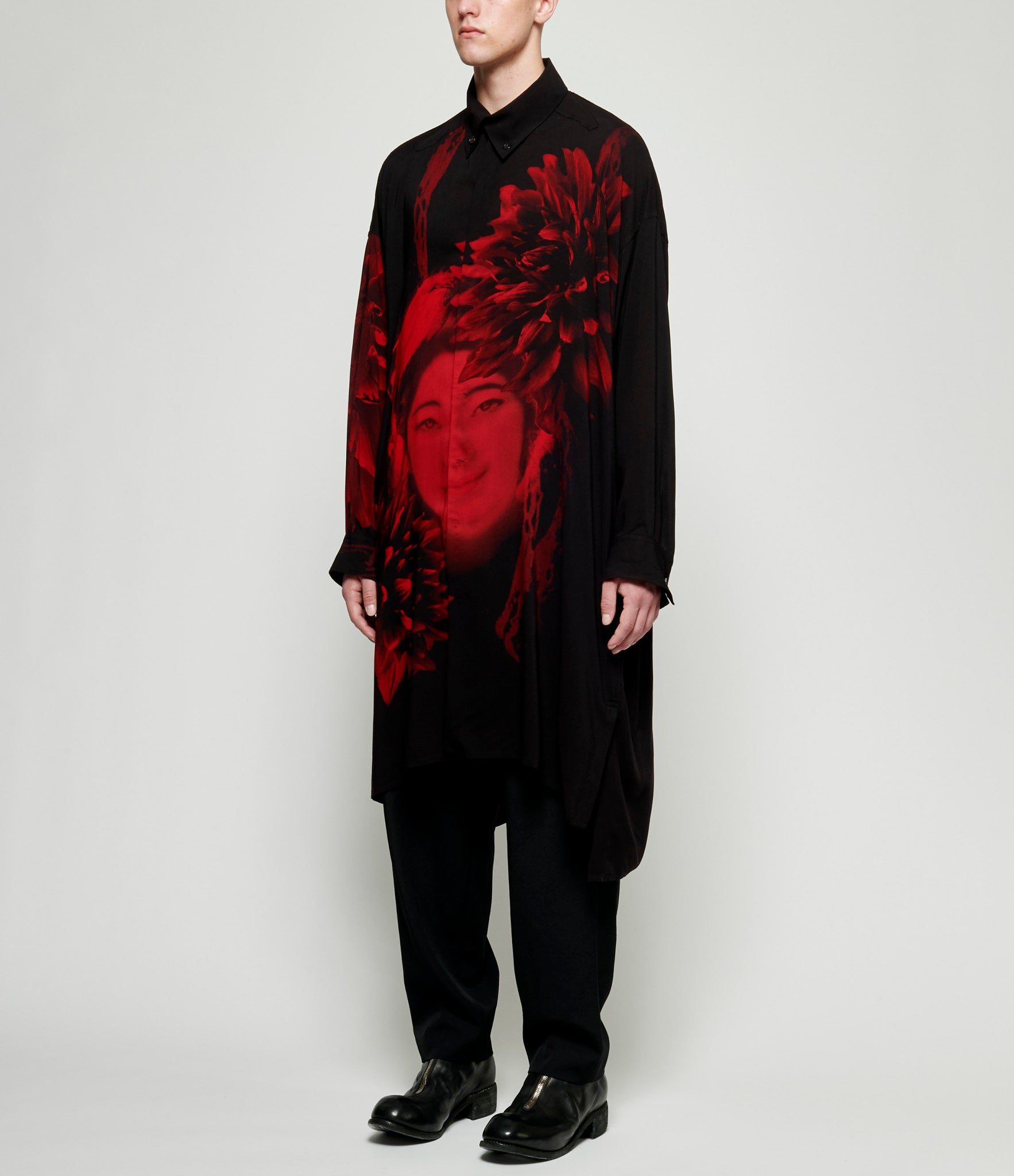 Yohji Yamamoto Women Graphic Asymmetric Clear Long Blouse Shirt