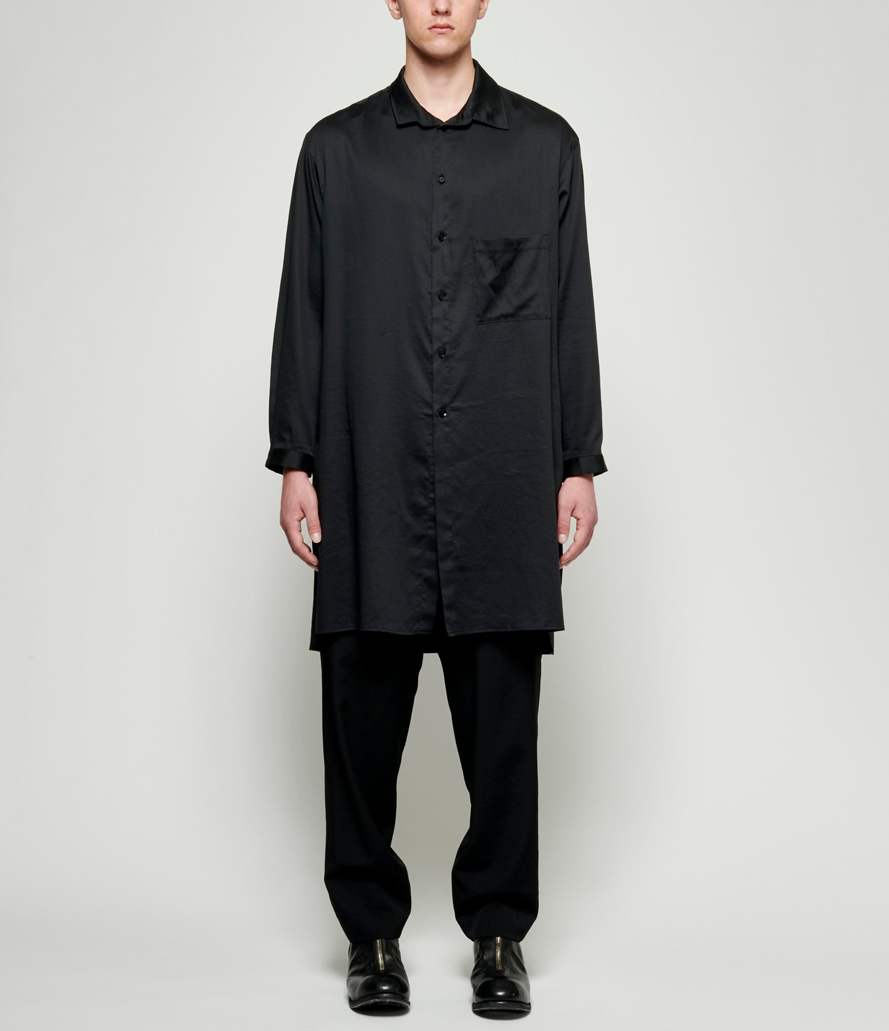 Yohji Yamamoto Asymmetrical Designed Clear Number Graphic Shirt
