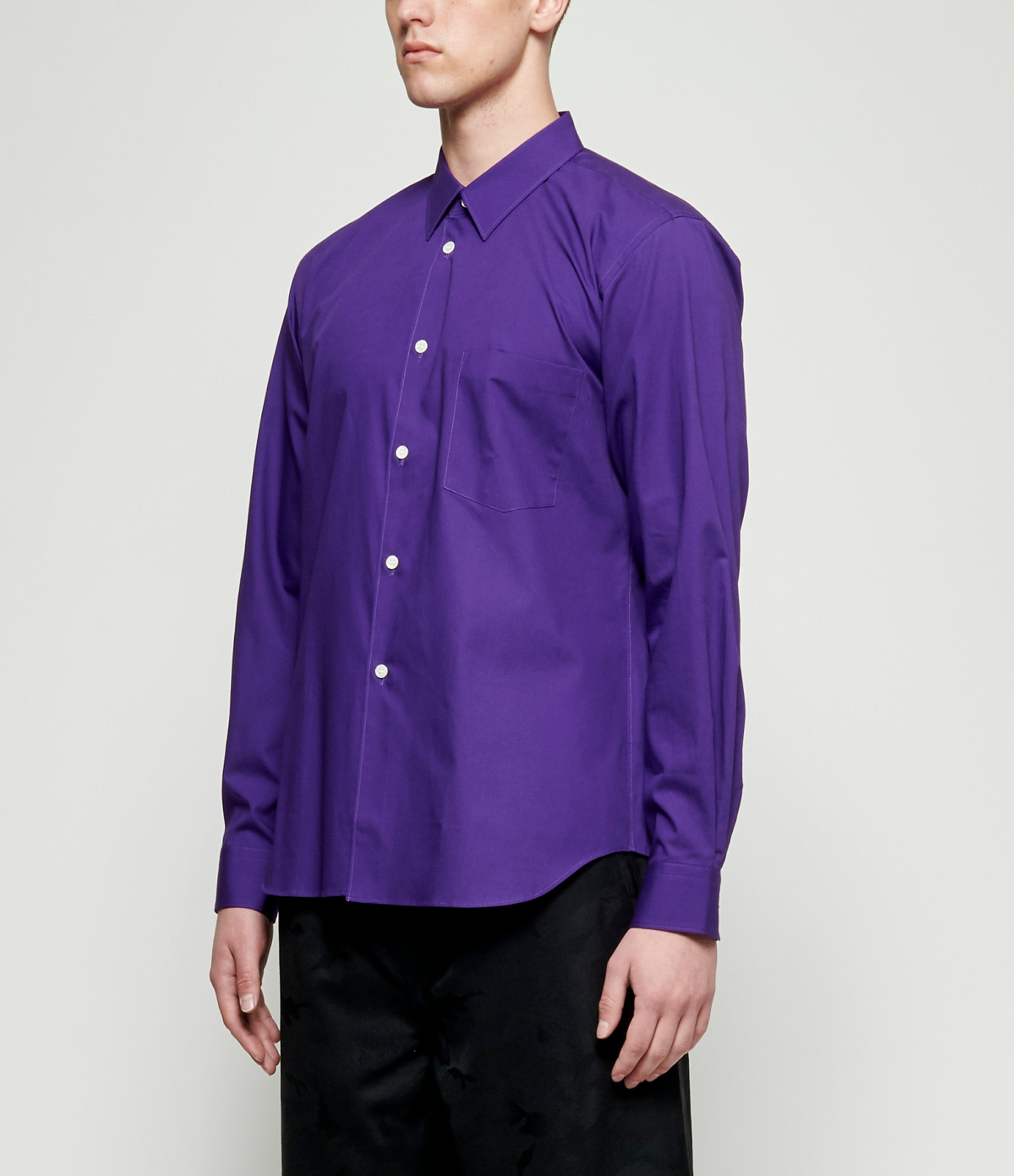 Comme Des Garcons Purple Cotton Broadcloth Shirt