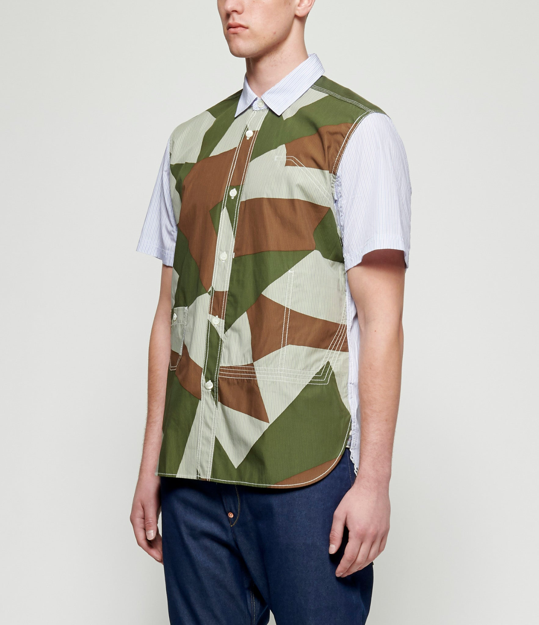Junya Watanabe Cotton Stripe Short Sleeve Shirt