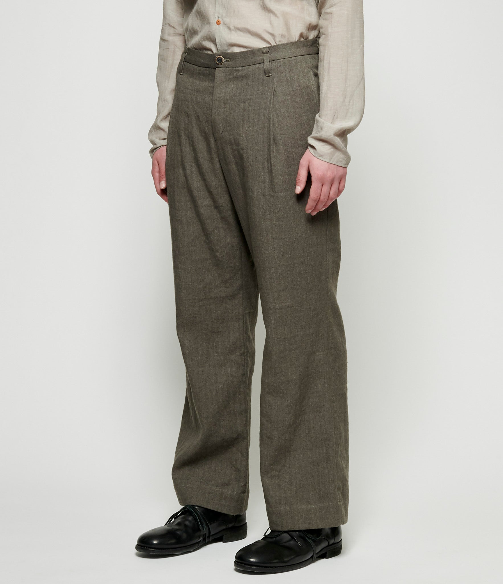 Individual Sentiments Uneven Dyed Yarn Herringbone Wide Leg Trousers