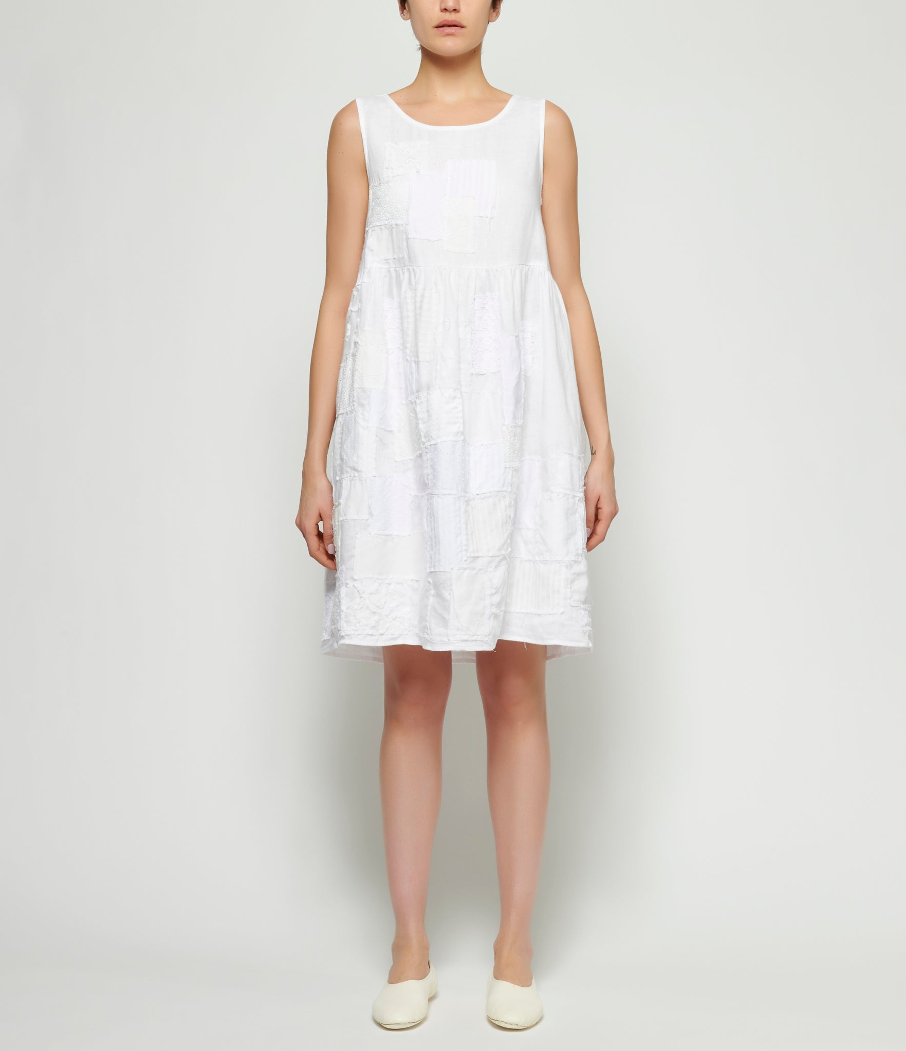 PHOS PHORO White Patchwork Appliqued Dress
