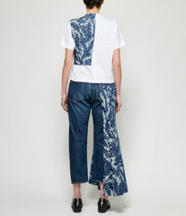 Junya Watanabe Jacquard Leaf Pattern Denim T-Shirt Dress