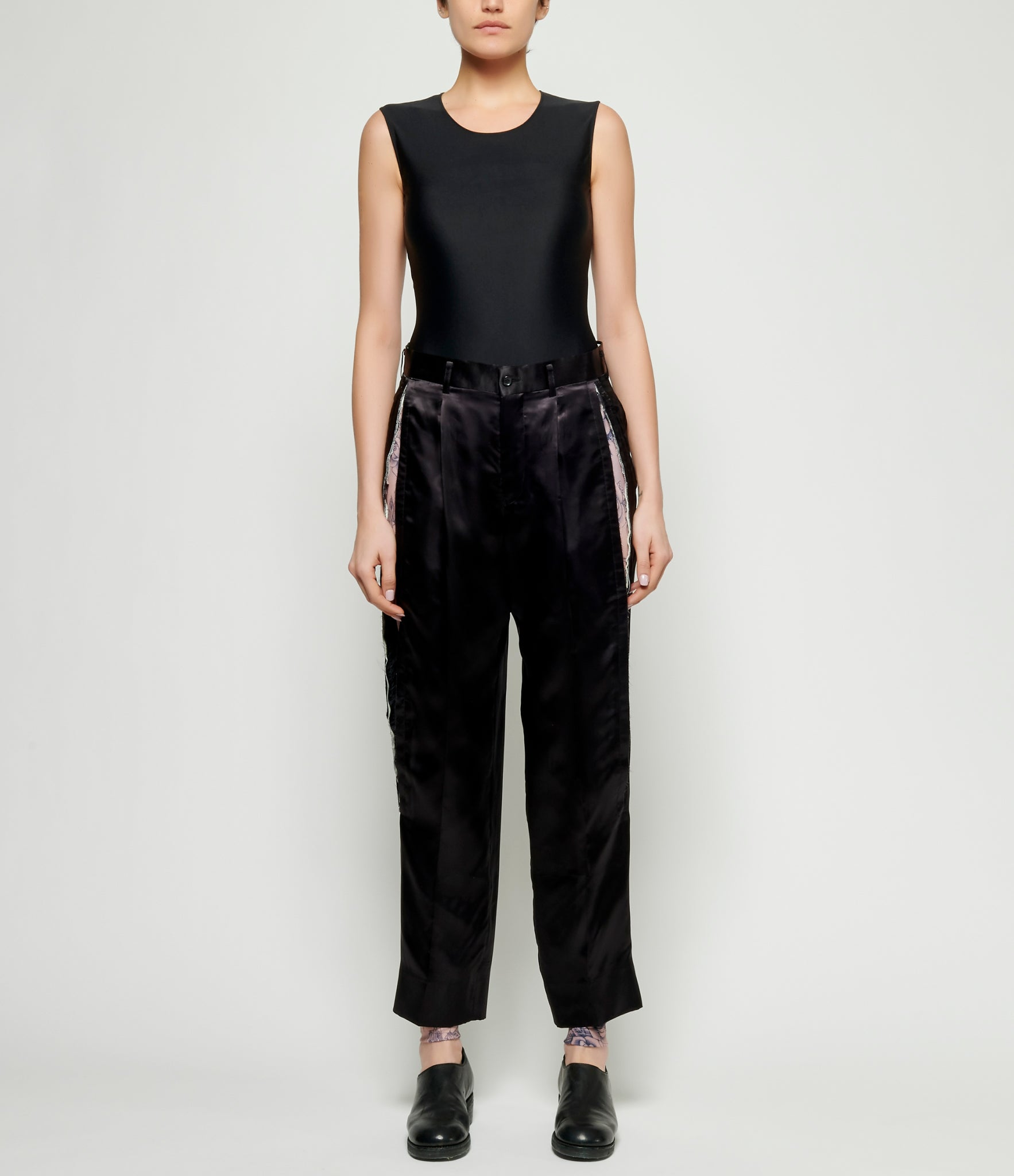 Comme Des Garcons Light Cupro Satin Slit Pants