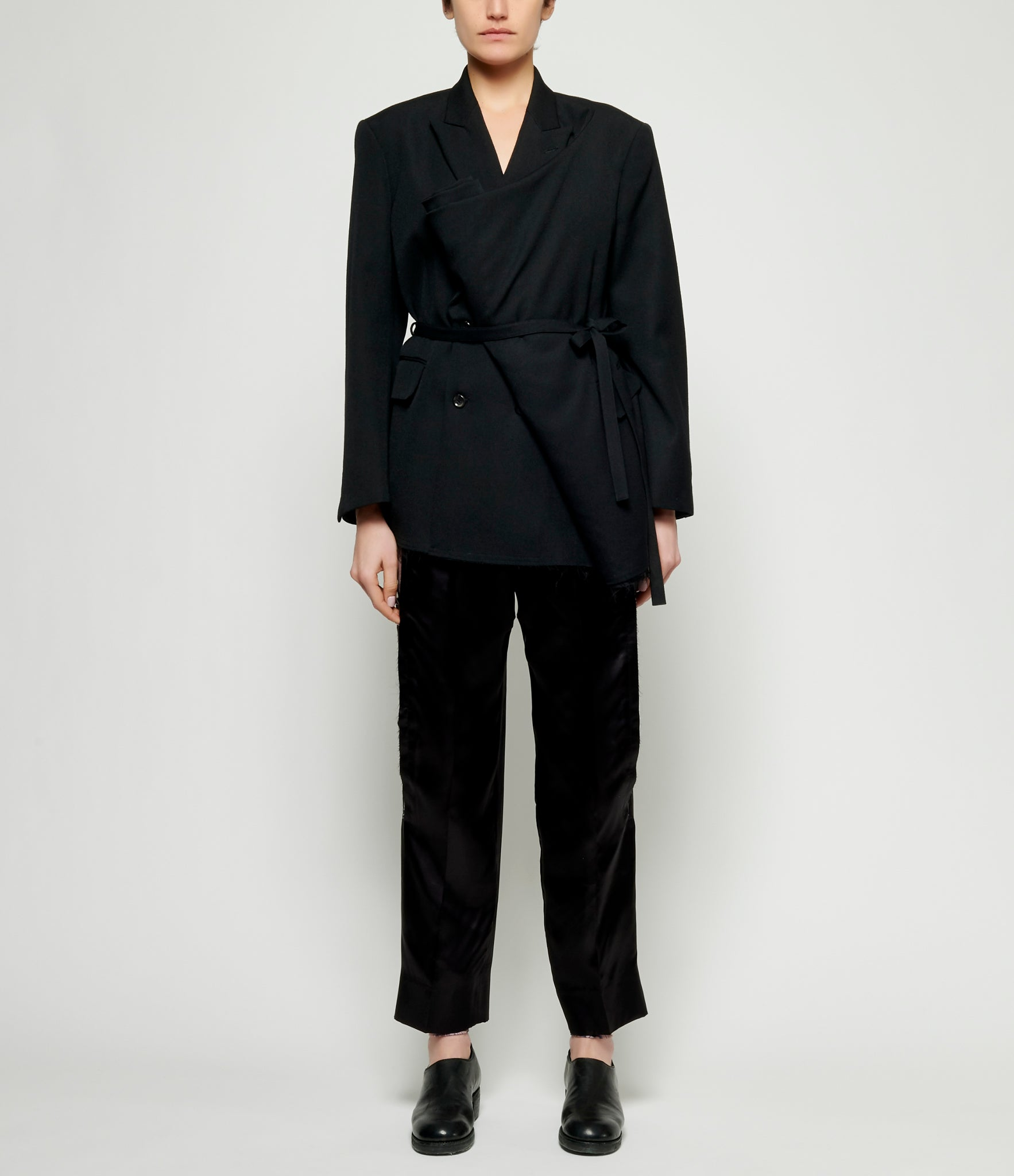 Comme Des Garcons Wool Thick Gabardine Robe Double Breasted Jacket