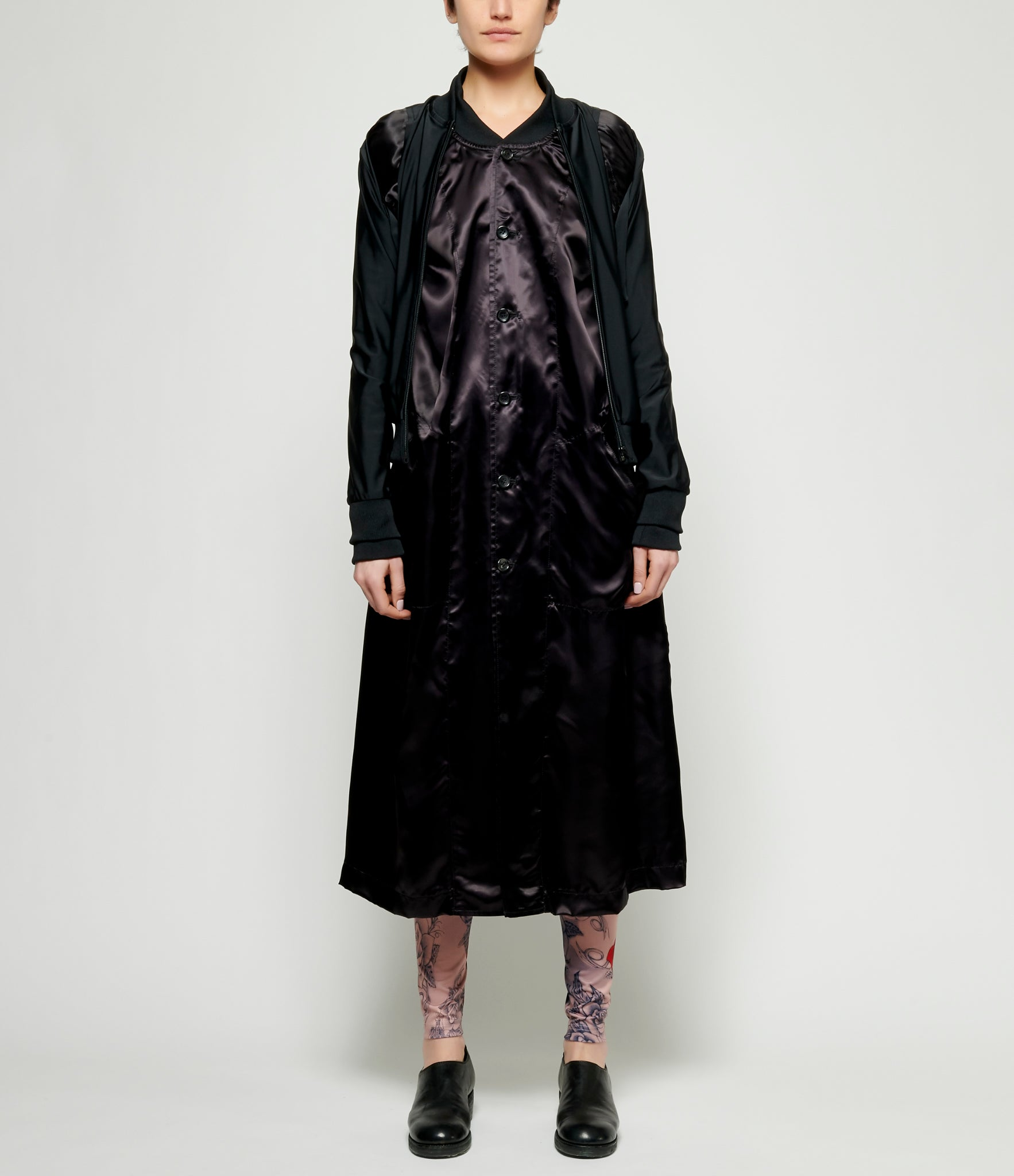 Comme Des Garcons Cupro Satin 4 Sleeve Layered Bomber Jacket Dress