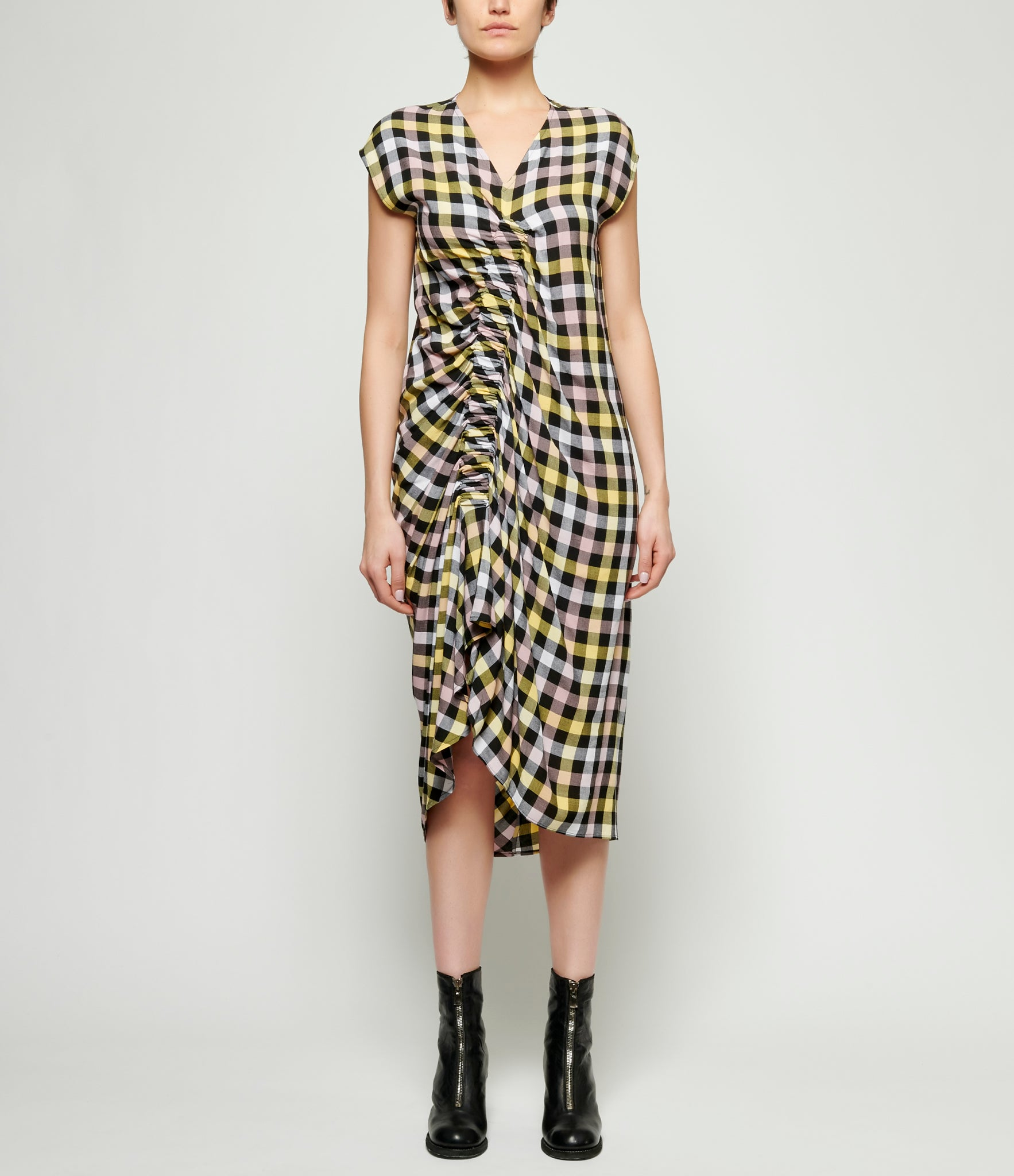 Replika Gathered Check Dress