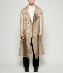 Sagittaire A Appropriated Samphrenia Graphic Print Light Silk Trench Coat