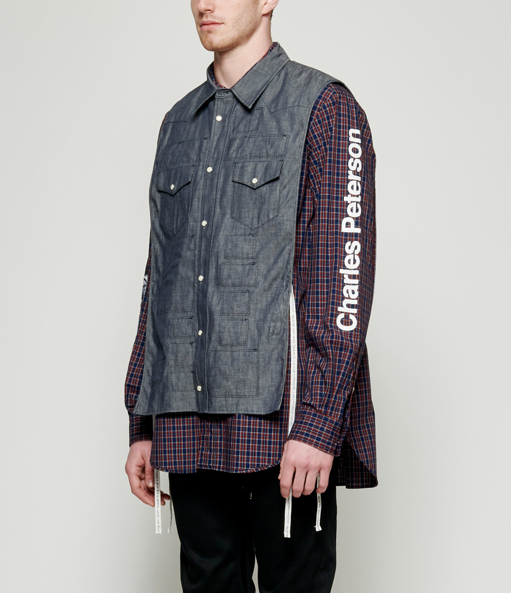 TAKAHIROMIYASHITA TheSoloist Touch Me I'm Sick Denim Layered Tartan Check Western Shirt