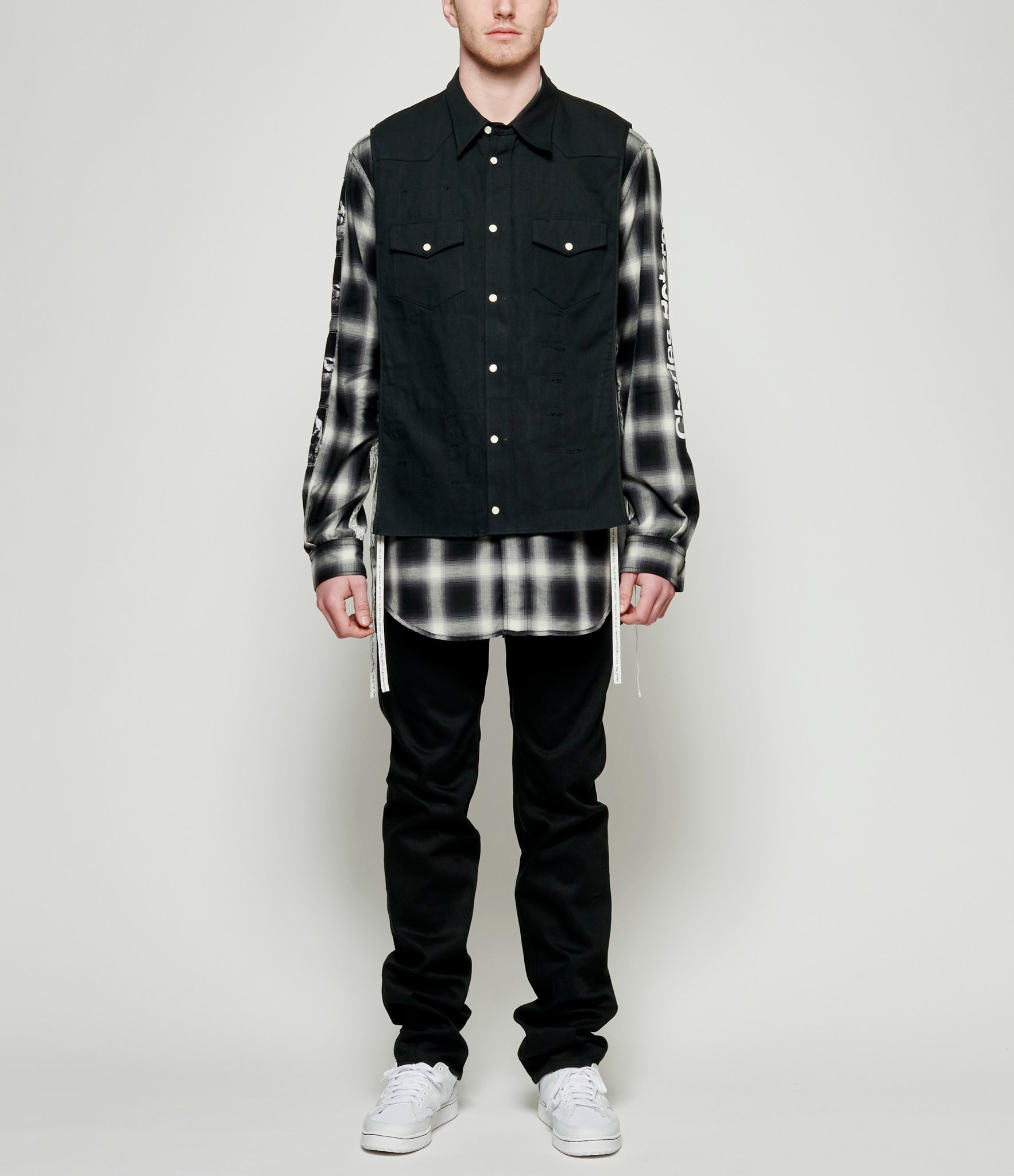 TAKAHIROMIYASHITA TheSoloist Touch Me I'm Sick Denim Layered Omble Check Western Shirt