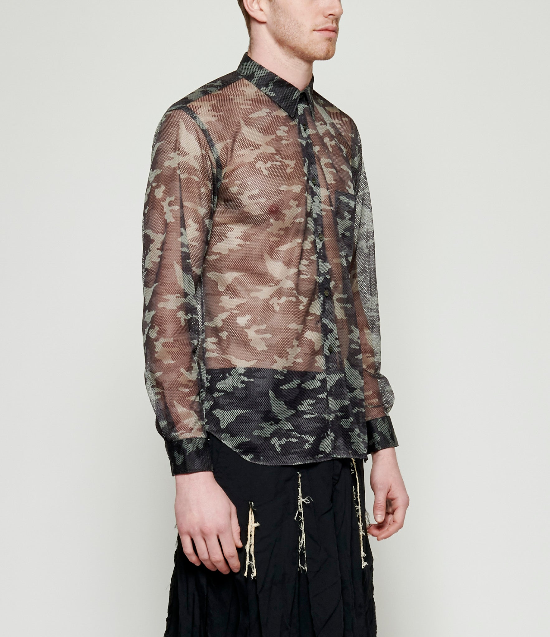 Comme Des Garcons Polyester Mesh Camouflage Print Shirt