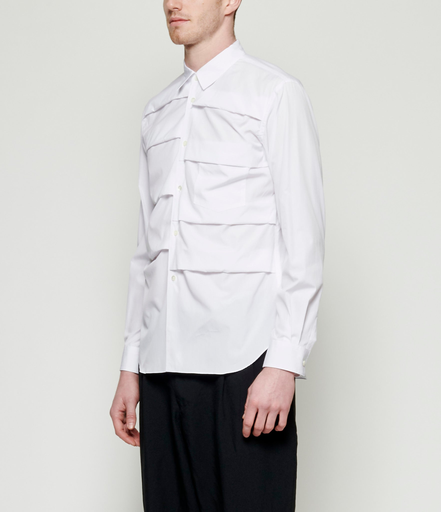 Comme Des Garcons Homme Plus Waterfall Pleated Cotton Broadcloth Shirt