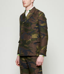 Junya Watanabe Camouflage Wool Linen Polyester Jacquard Double Breasted Blazer