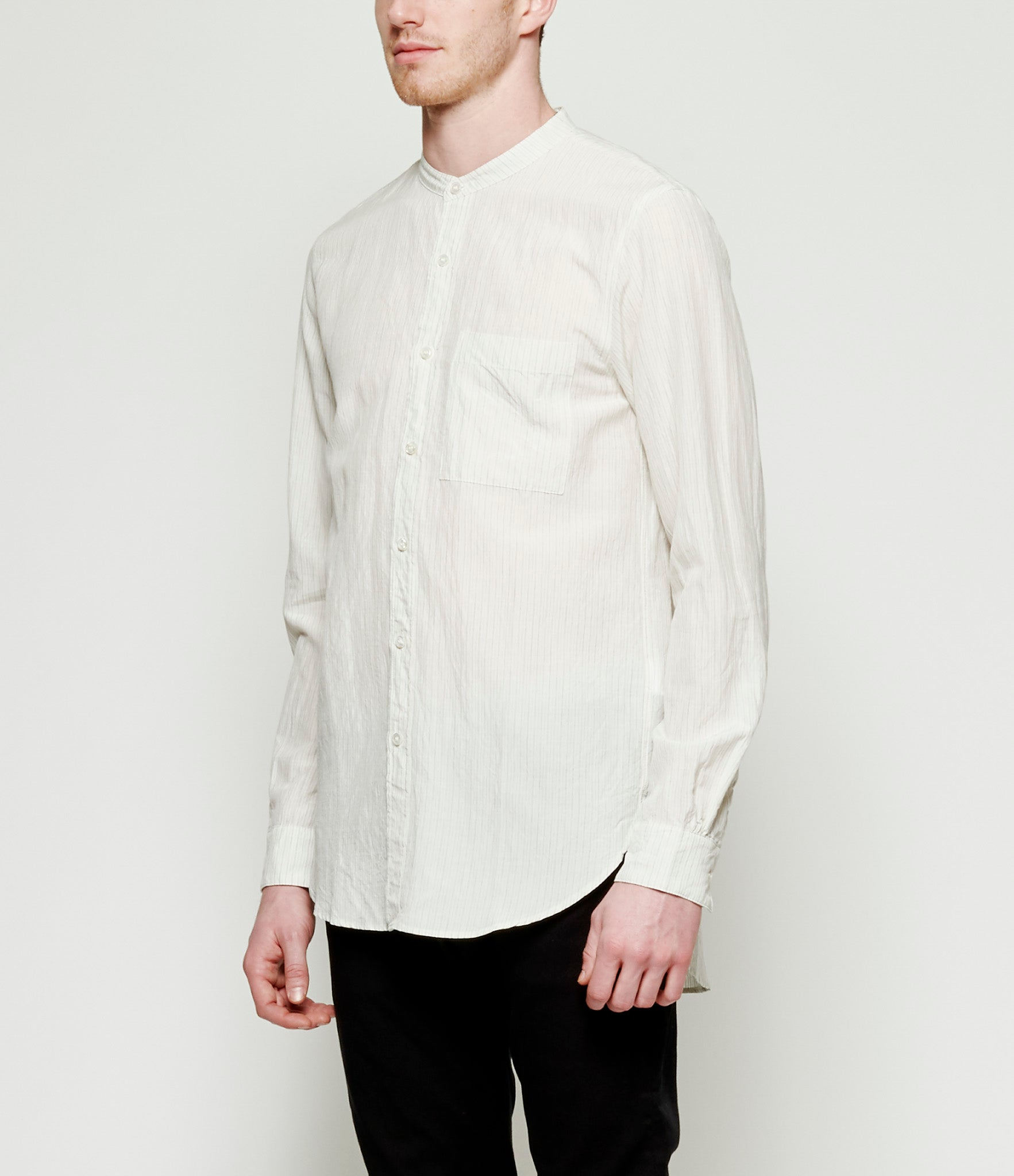 Attachment Kazuyuki Kumagai Pinstripe Band Collar Shirt