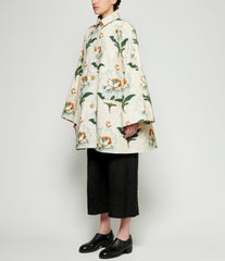 By Walid Beige Lotus Flower Print Poppy Coat