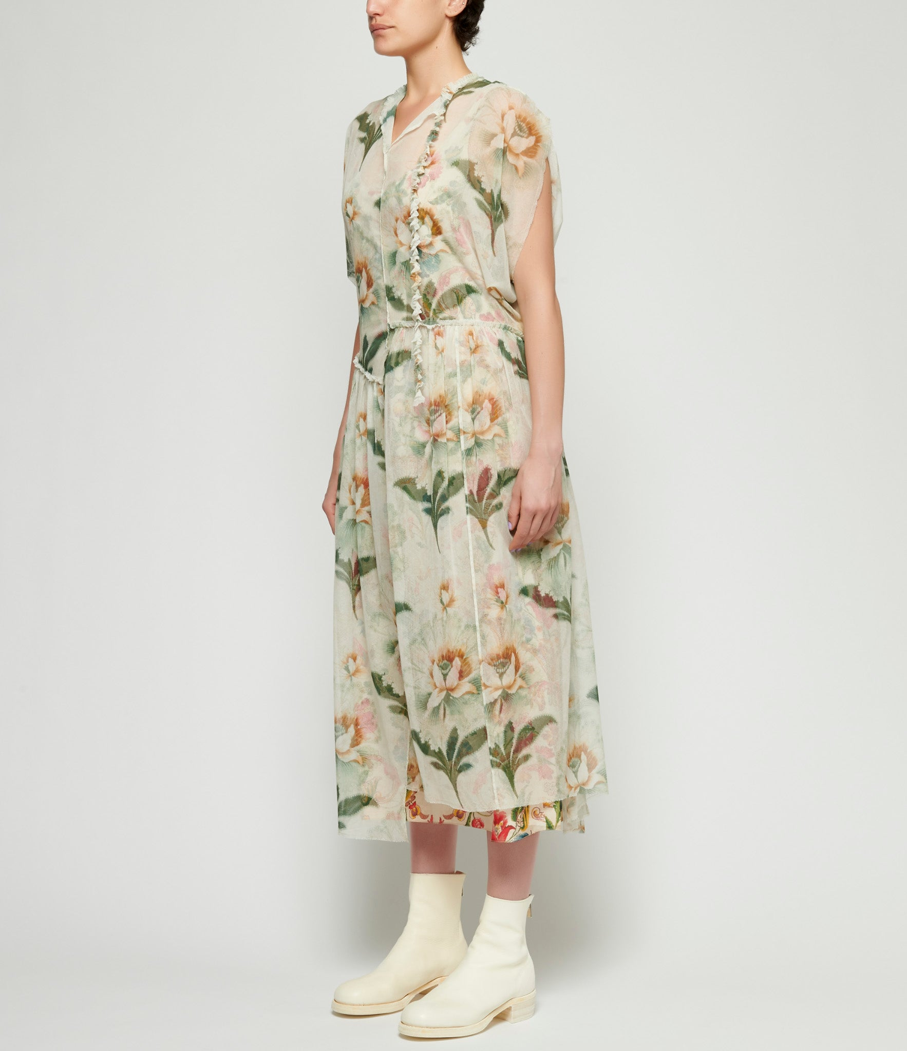 By Walid Beige Lotus Flower Print Aida Dress