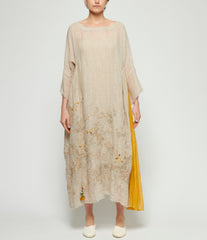 Pero Open Weave Linen Floral Embroidered Scoop Neck Dress