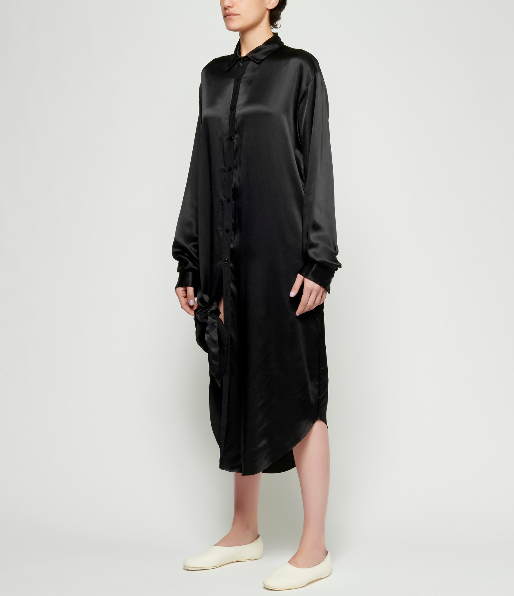 Elena Dawson Black Light Silk Satin Extra Long Shirt